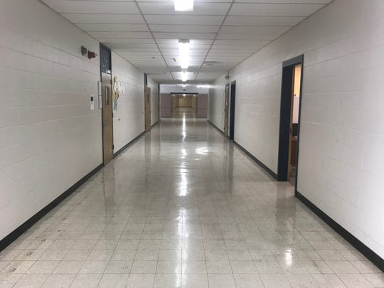 The hallways at North Side High School are empty during an active shooter drill and lockdown on Monday morning. Every school in JMCSS goes through a drill each school year.
