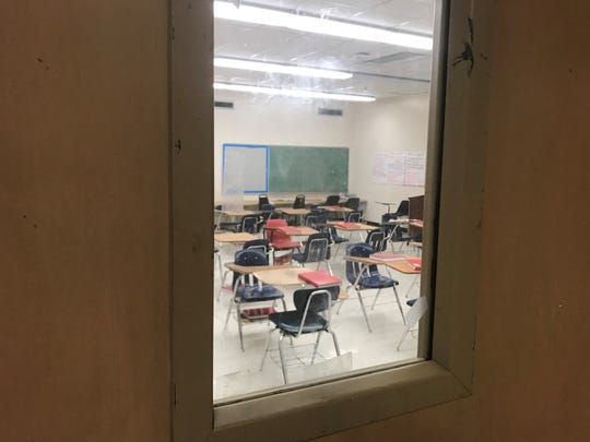 No student is to be visible through the window in a classroom door in an active shooter situation so the intruder is unable to easily aim at targets.