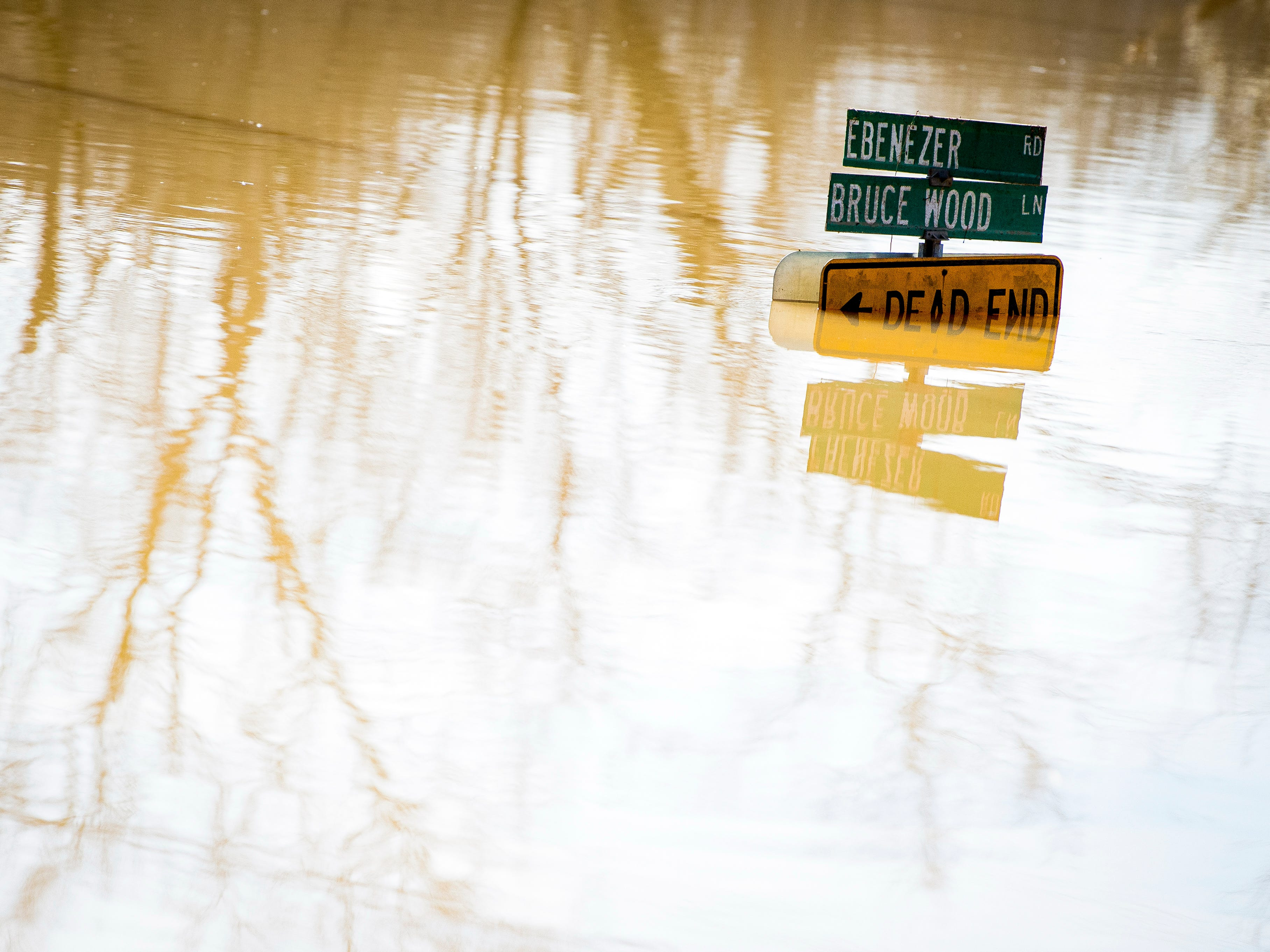 A street sign for Ebenezer Road and Brucewood Lane pops out of the floodwaters in Knoxville on Monday, February 25, 2019.
