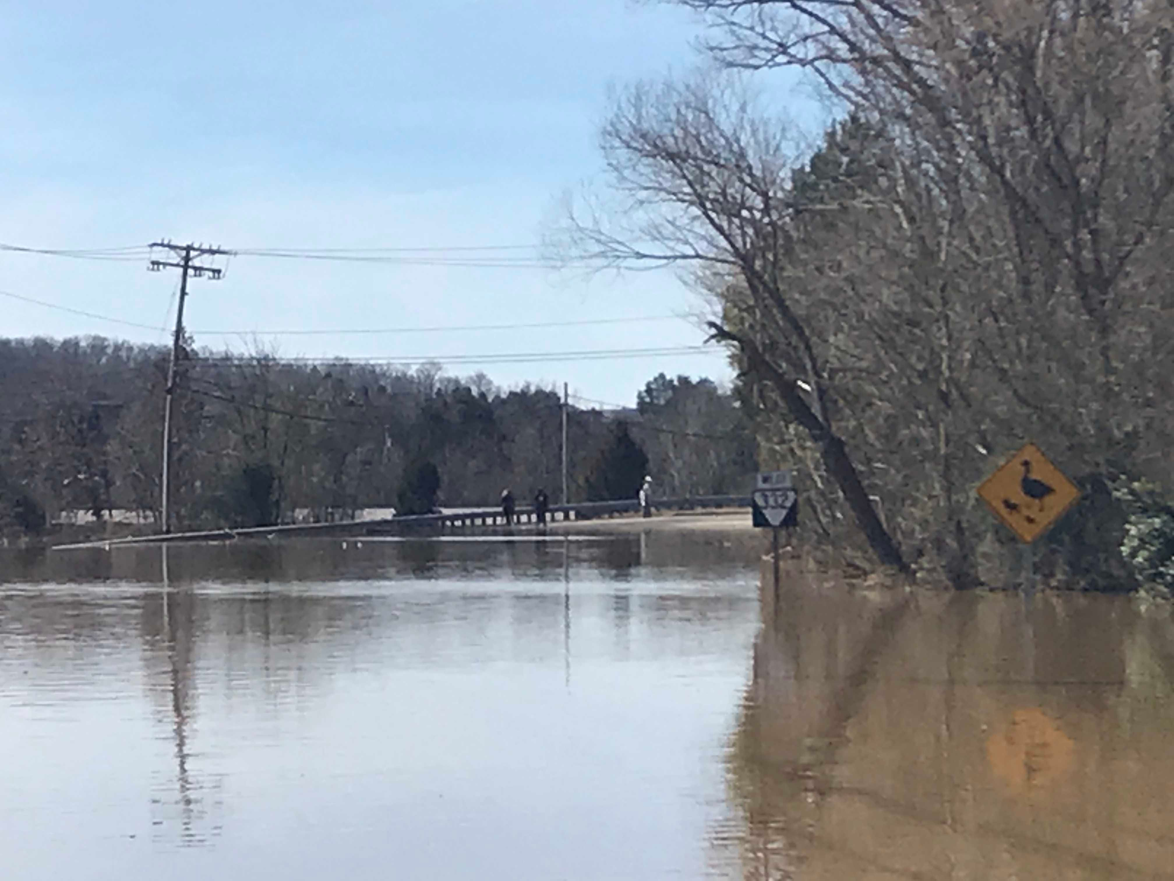By noon on Monday, Feb. 25, 2019 some of the water in Northshore Drive east of Ebenezer had receded to actually see an edge of dry land across the pond.