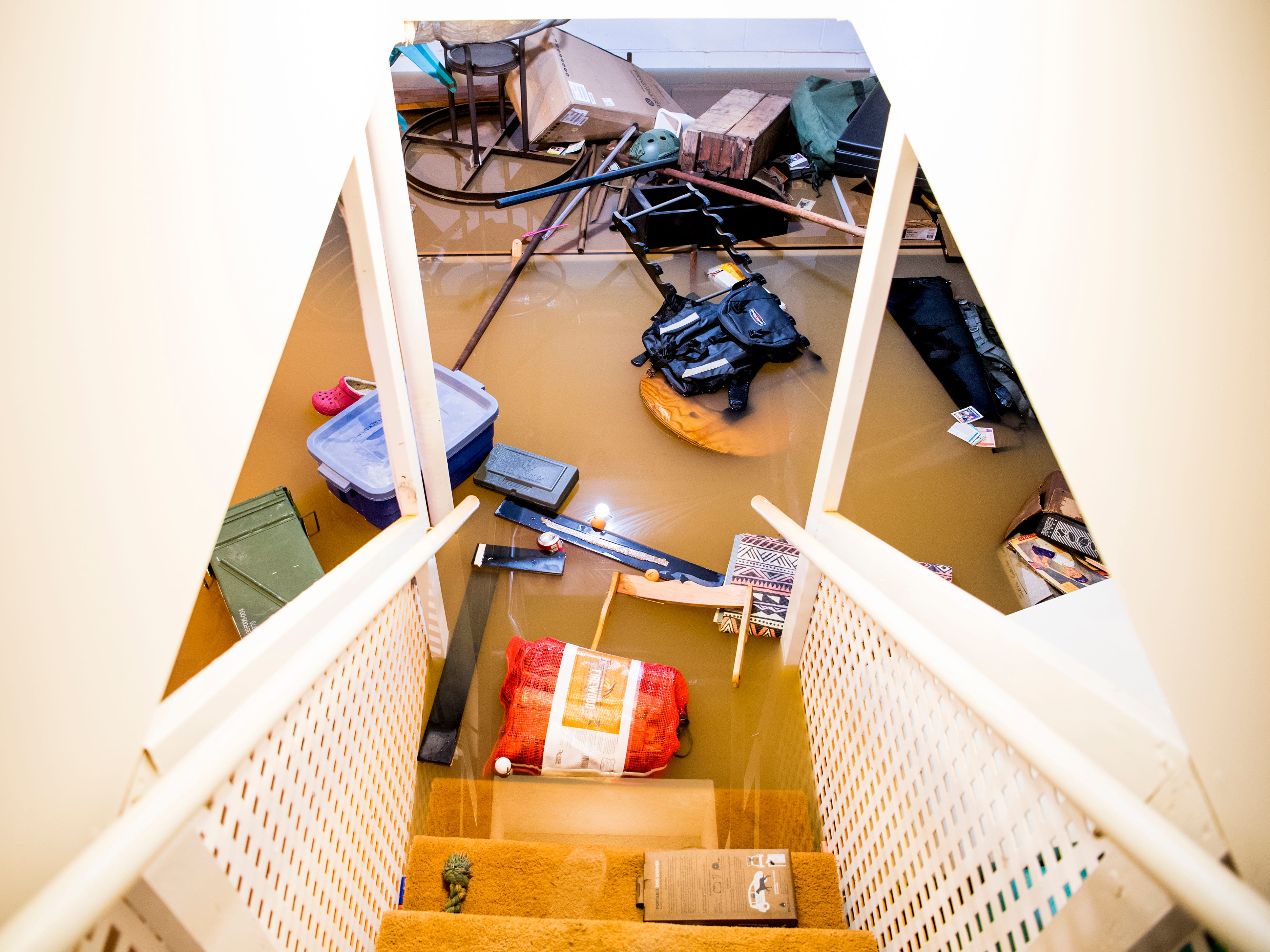 Jeff Macklin's basement at his home in the Lennox Place subdivision in Knoxville flooded with seven feet of water on Saturday. Three feet of water currently stand in his basement as of Monday, February 25, 2019.