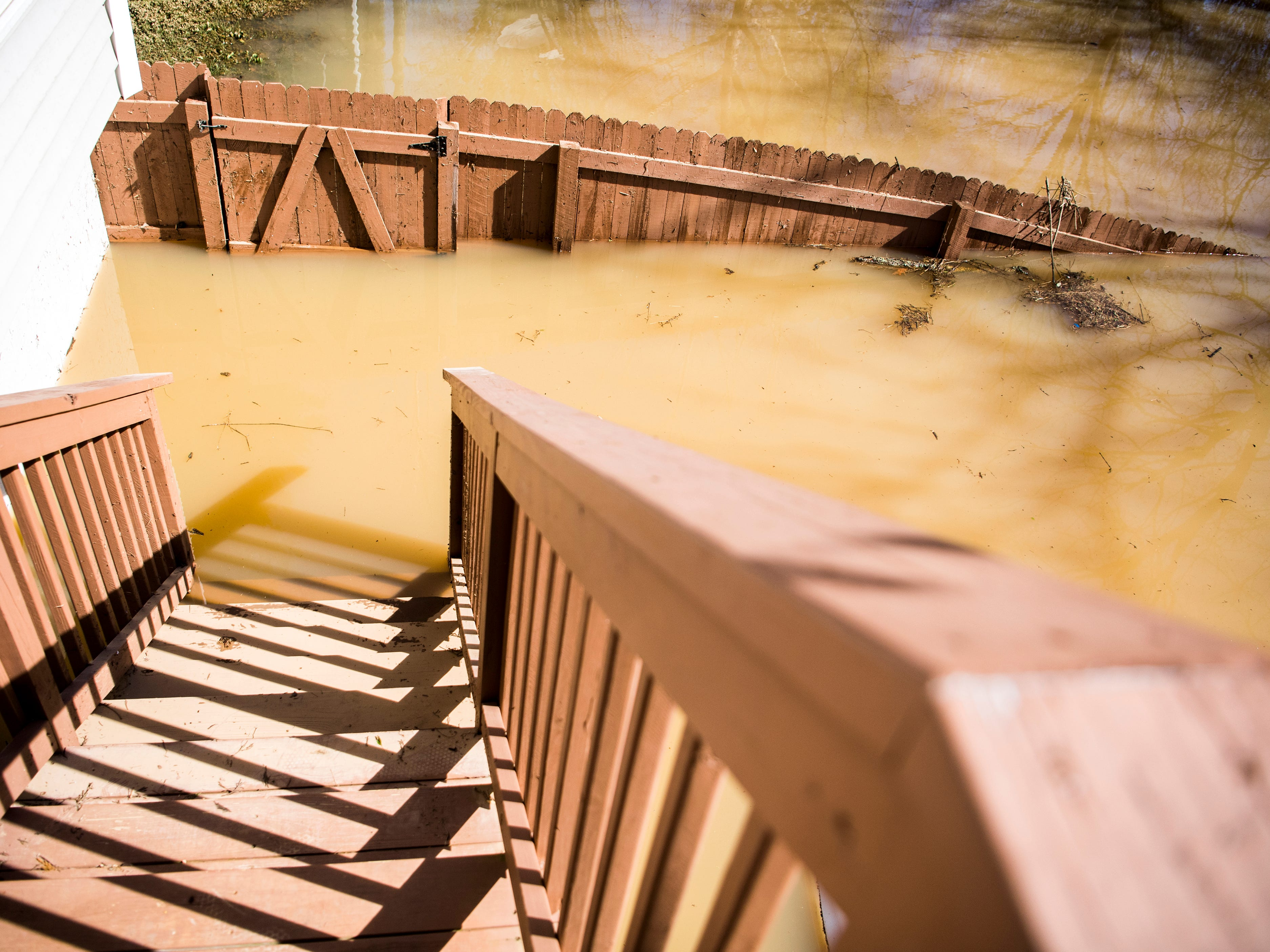 Water continues to flood Jeff Macklin's backyard on Monday, February 25, 2019. Macklin lives in the Lennox Place subdivision off of Ebenezer Road in Knoxville, and parts of Ebenezer Road were still under several feet of water on Monday afternoon.