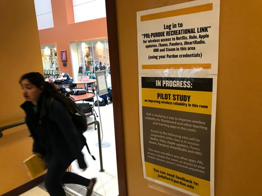 "Purdue blocked popular streaming services in classrooms in Forney Hall of Chemical Engineering as a test this semester, while setting up spaces for a new ""Purdue Recreational Link"" service on the university's broadband network for students, staff and faculty. Purdue will make that model standard practice for all classrooms and academic buildings on the West Lafayette campus, starting after spring break in March."