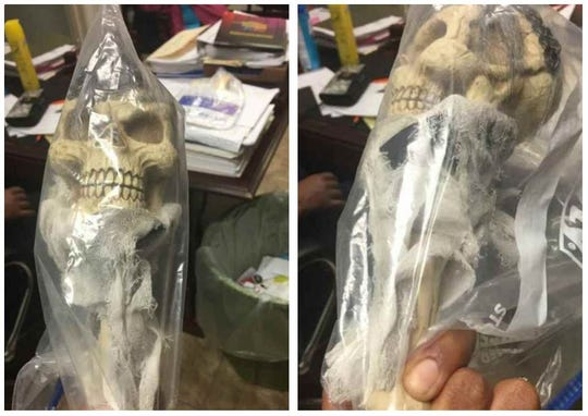A purported voodoo doll, allegedly found in the desk for ex-SMILE CEO Chris Williams, is seen in side-by-side photos provided by the attorney of a woman who has accused Williams of sexual harassment. The doll was allegedly wrapped in one of the black woman's socks, which can be seen in the photo on the right, said attorney Victoria Bowers.
