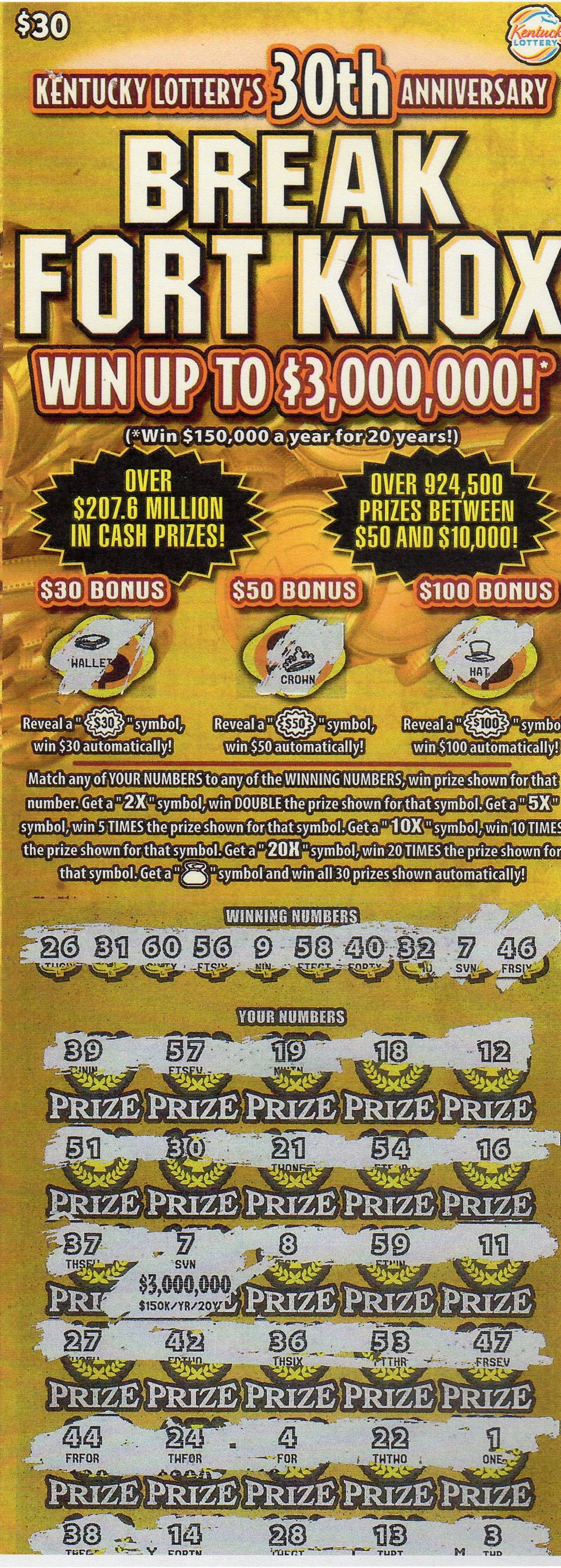 Kentucky Lottery sells $3 million Break Fort Knox ticket