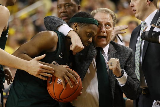 Tom Izzo enjoys the late moments of MSU's win at Michigan last season.