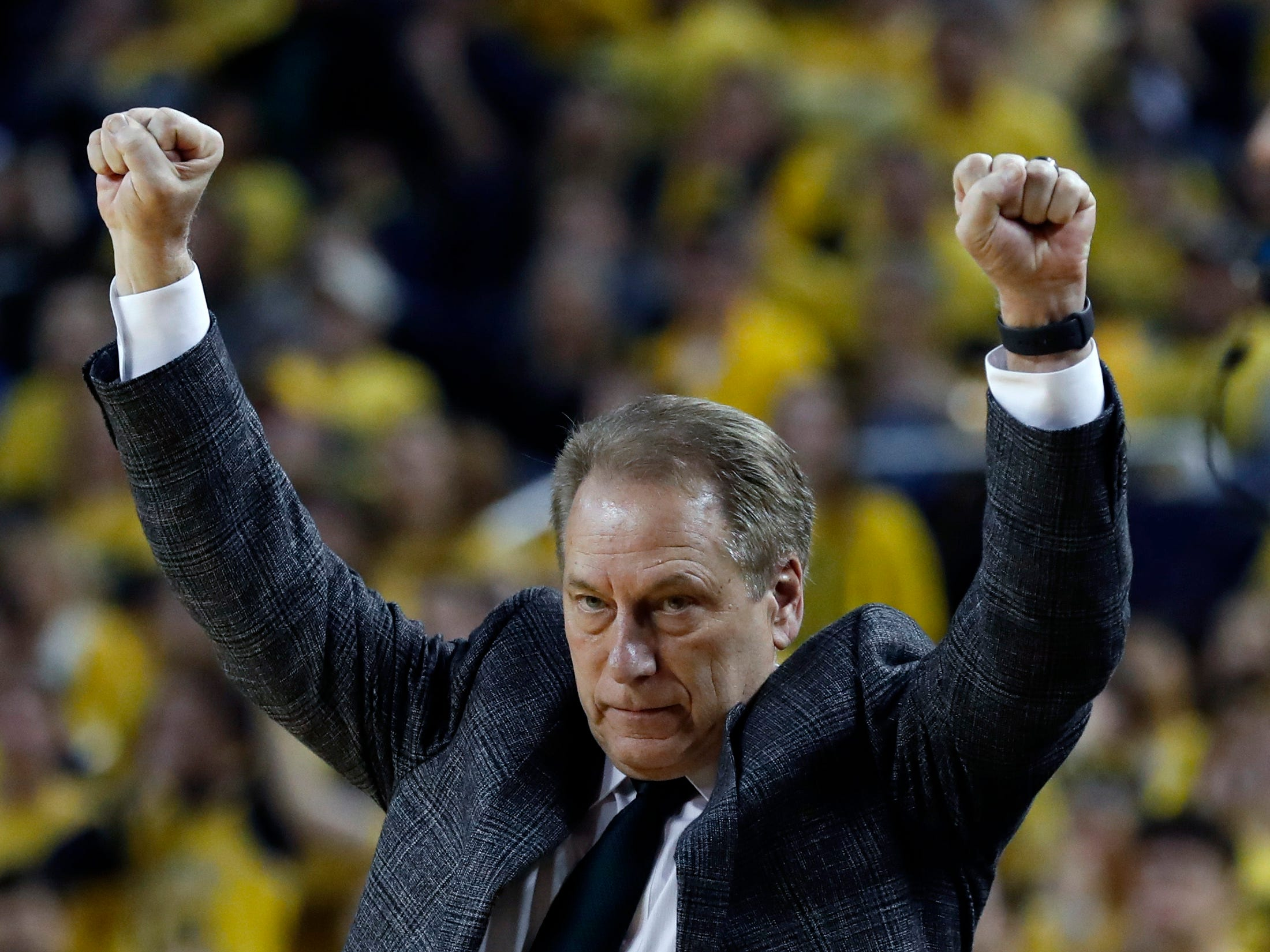 Michigan State head coach Tom Izzo reacts during the second half of an NCAA college basketball game against Michigan, Sunday, Feb. 24, 2019, in Ann Arbor, Mich.