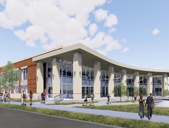 Renderings of the new University of Memphis' new student recreation center. The 79,000 square-foot building on Southern Avenue features a gymnasium, fitness space, and outdoor pool