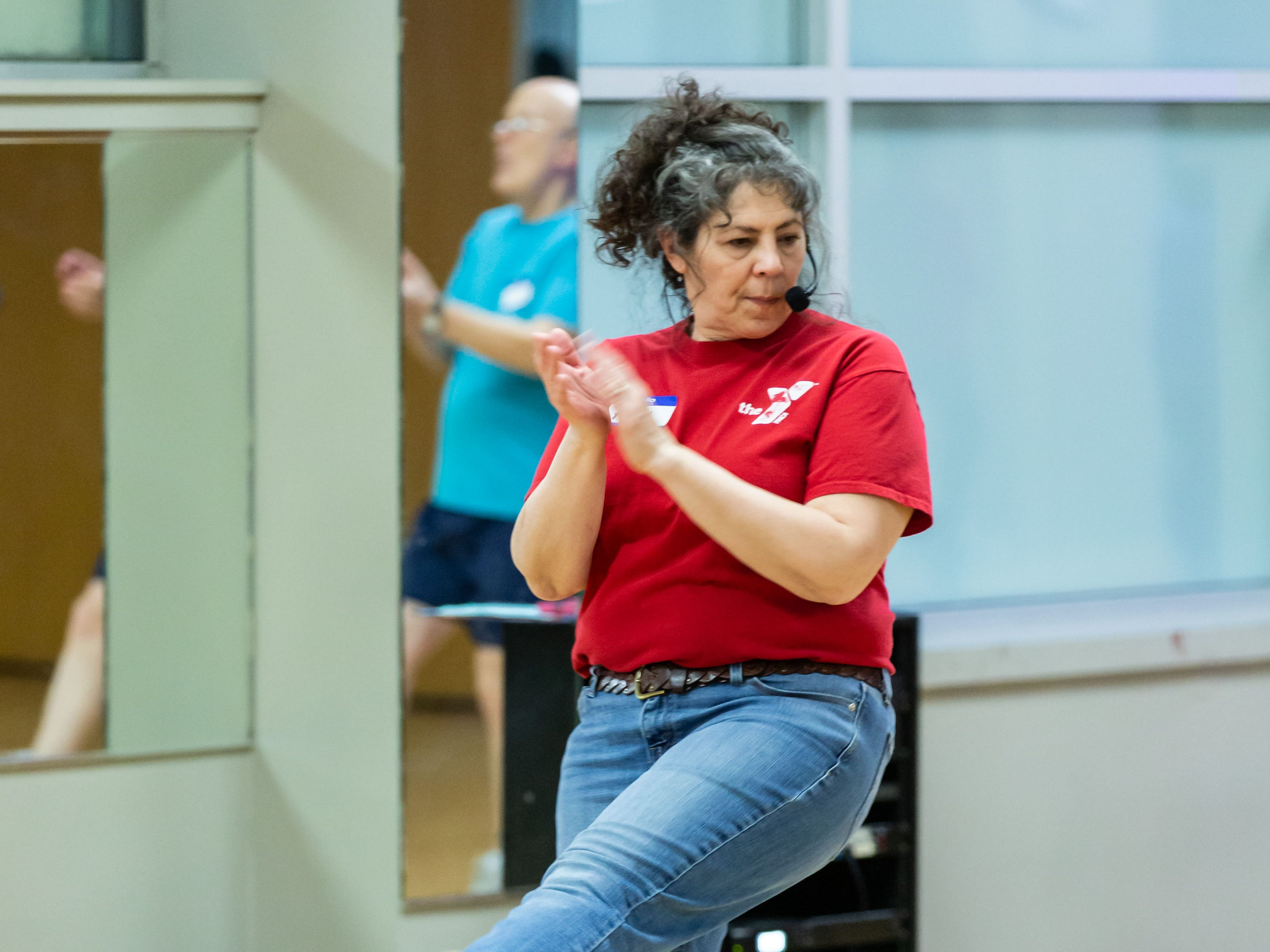 YMCA Instructor Polly Oldenburg teaches a line dancing routine during the Hometown Hoedown NEA Big-Read Kickoff Event at the Tri County YMCA in Menomonee Falls on Saturday, Feb. 23, 2019. The event featured live music, food, games, and western themed activities for the whole family.