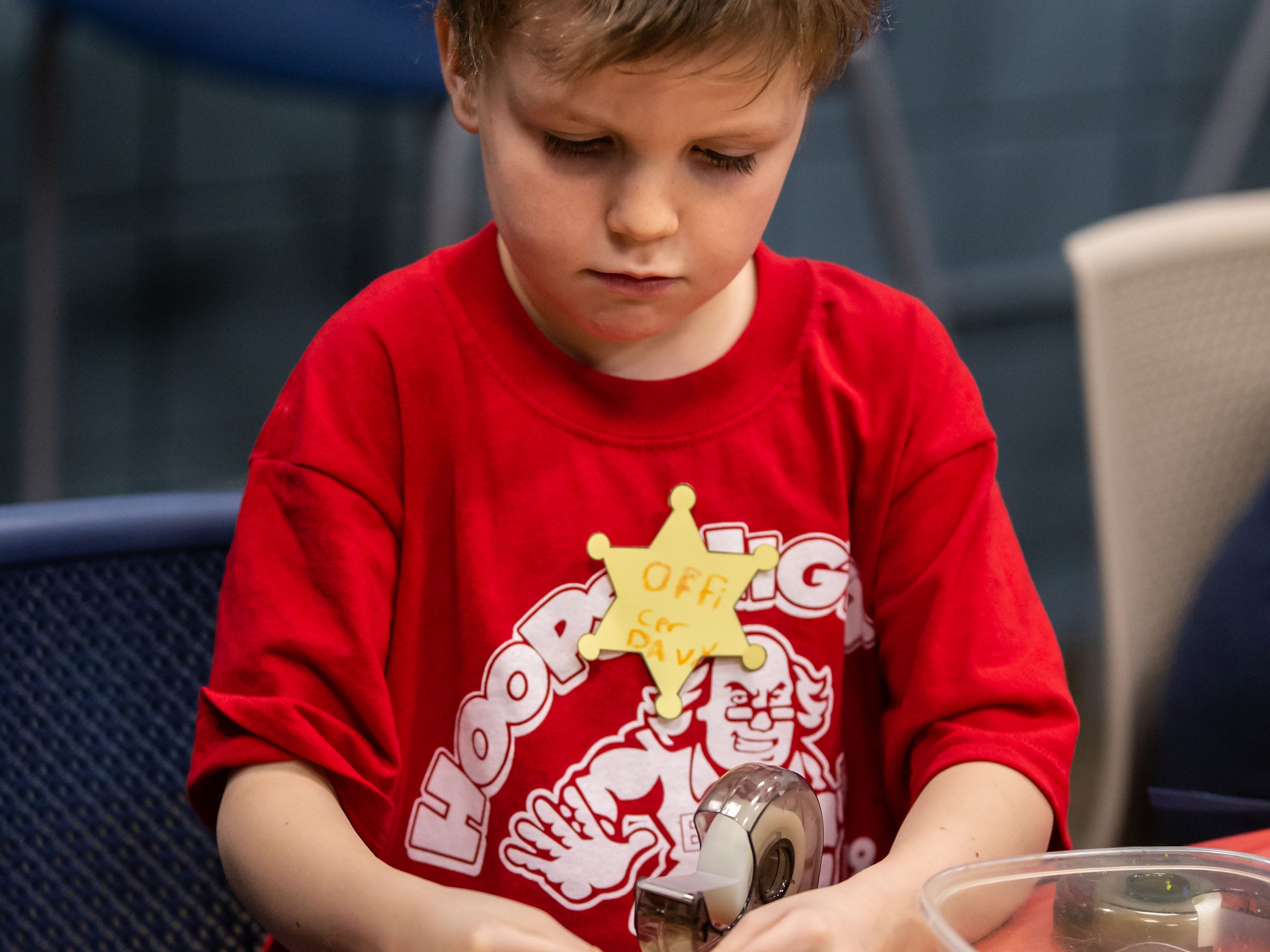Six-year-old Davy Allar of Menomonee Falls works on a craft project during the Hometown Hoedown NEA Big-Read Kickoff Event at the Tri County YMCA in Menomonee Falls on Saturday, Feb. 23, 2019. The event featured live music, food, games, and western themed activities for the whole family.