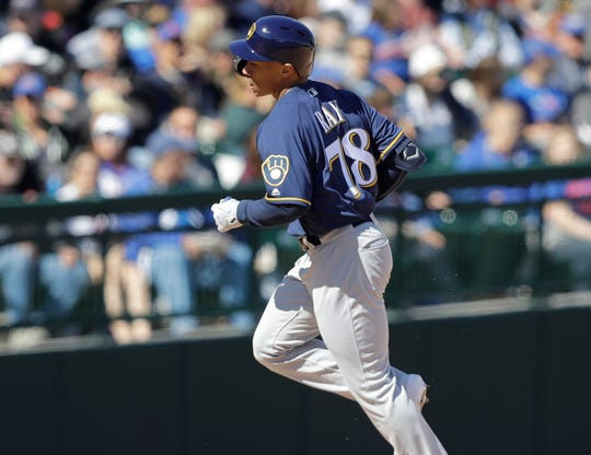 Brewers outfielder Corey Ray had a home run and a double during a spring training game against the Chicago Cubs on Saturday in Mesa, Arizona.