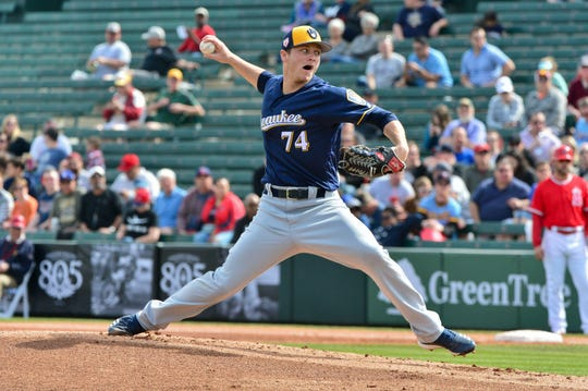 Brewers starting pitcher Zack Brown gave up just a walk in his one inning against the Angels on Monday. It was Brown's first appearance ever in a spring training game with the big club.