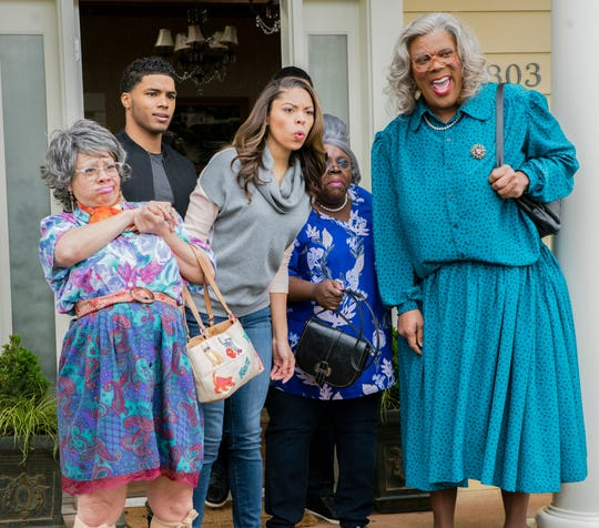 "Madea (Tyler Perry, right) gets the family back together for ""Tyler Perry's A Madea Family Funeral."""