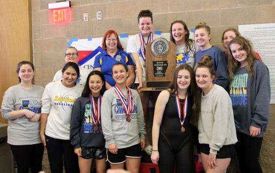 The Mountain Home Lady Bomber swim team finished as state runner-up at the Class 5A meet held Saturday at Russellville.
