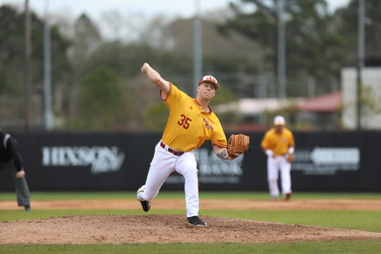 ULM starting pitcher Kayleb Sanderson (35) allowed four hits, one walk, one earned run and struck out seven batters in 7.0 innings during Monday afternoon's 4-1 win over SIUE at Warhawk Field.