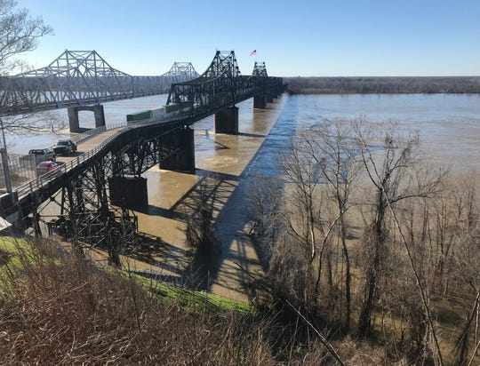 This is a view of the Mississippi River taken Sunday from a Vicksburg, Miss., bluff. The river is forecast to crest March 14 at Vicksburg at 51.5 feet. Flood stage is 43 feet.