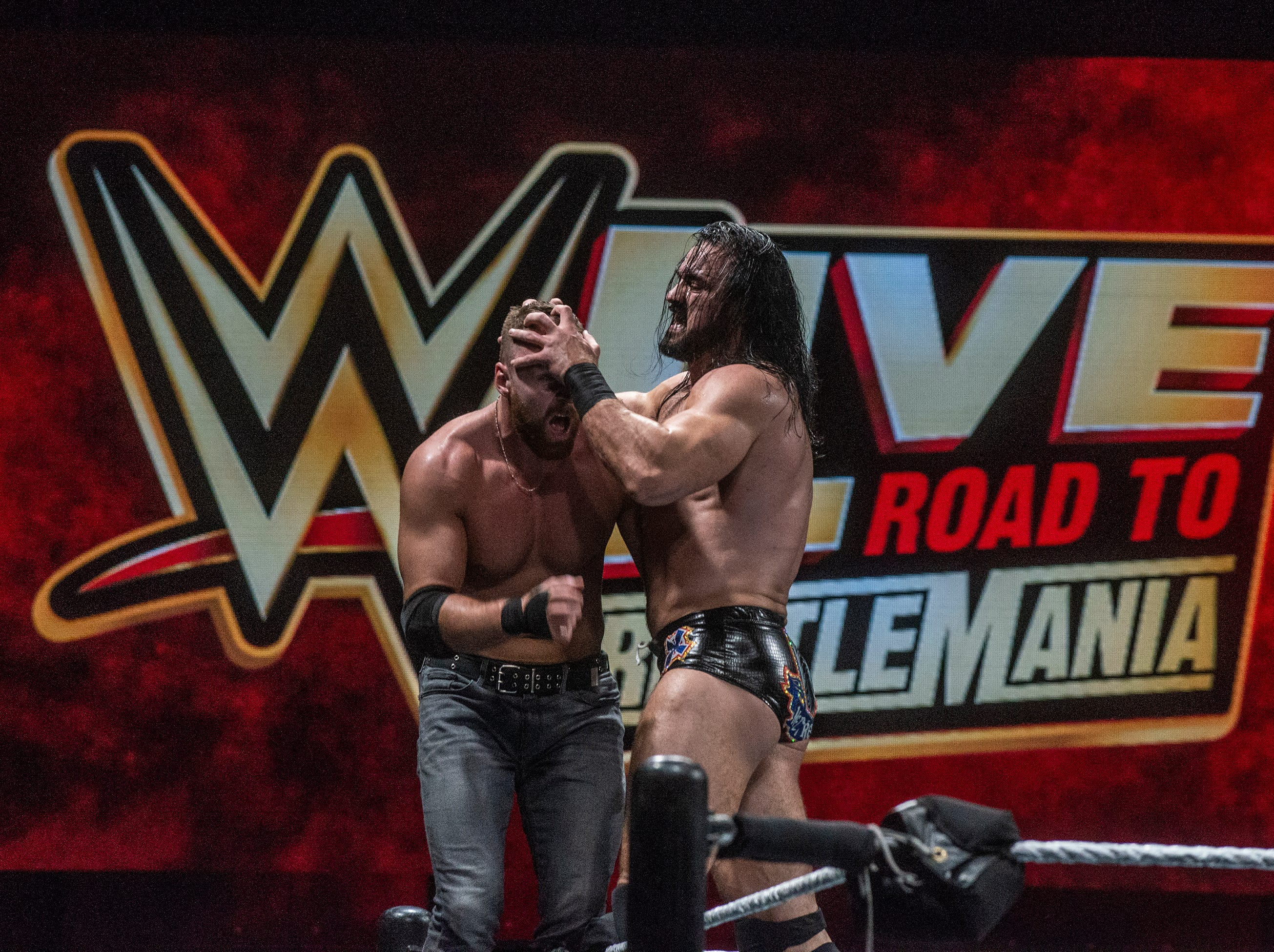 Dean Ambrose and Drew McIntyre fight it out on the top rope. WWE Live Road to Wrestlemania came to Garrett Coliseum in Montgomery on Sunday, Feb. 24, 2019.