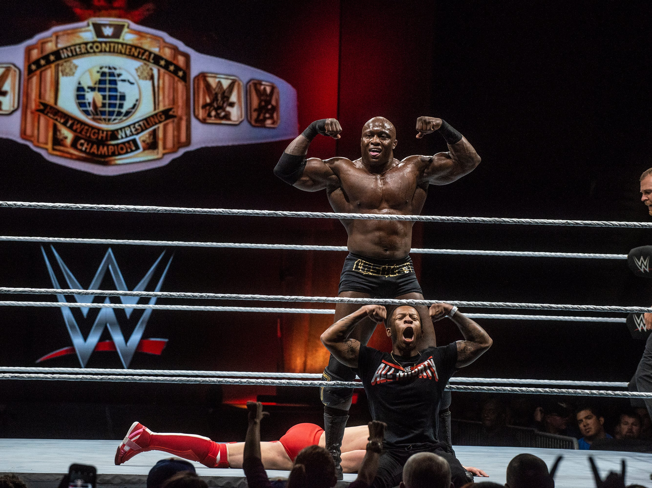 Bobby Lashley poses for the crowd in during his match with Intercontinental Heavyweight Wrestling Champion Finn Balor. WWE Live Road to Wrestlemania came to Garrett Coliseum in Montgomery on Sunday, Feb. 24, 2019.