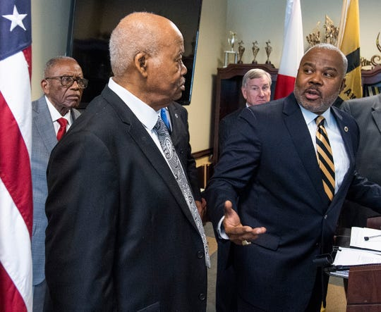 Alabama State University President Quinton Ross speaks with Joseph Paterson, one of the Alabama State University students that were expelled for taking part in the 1960 lunch counter sit-in in Montgomery, during a press conference at the ASU campus in Montgomery, Ala., on Monday February 25, 2019.