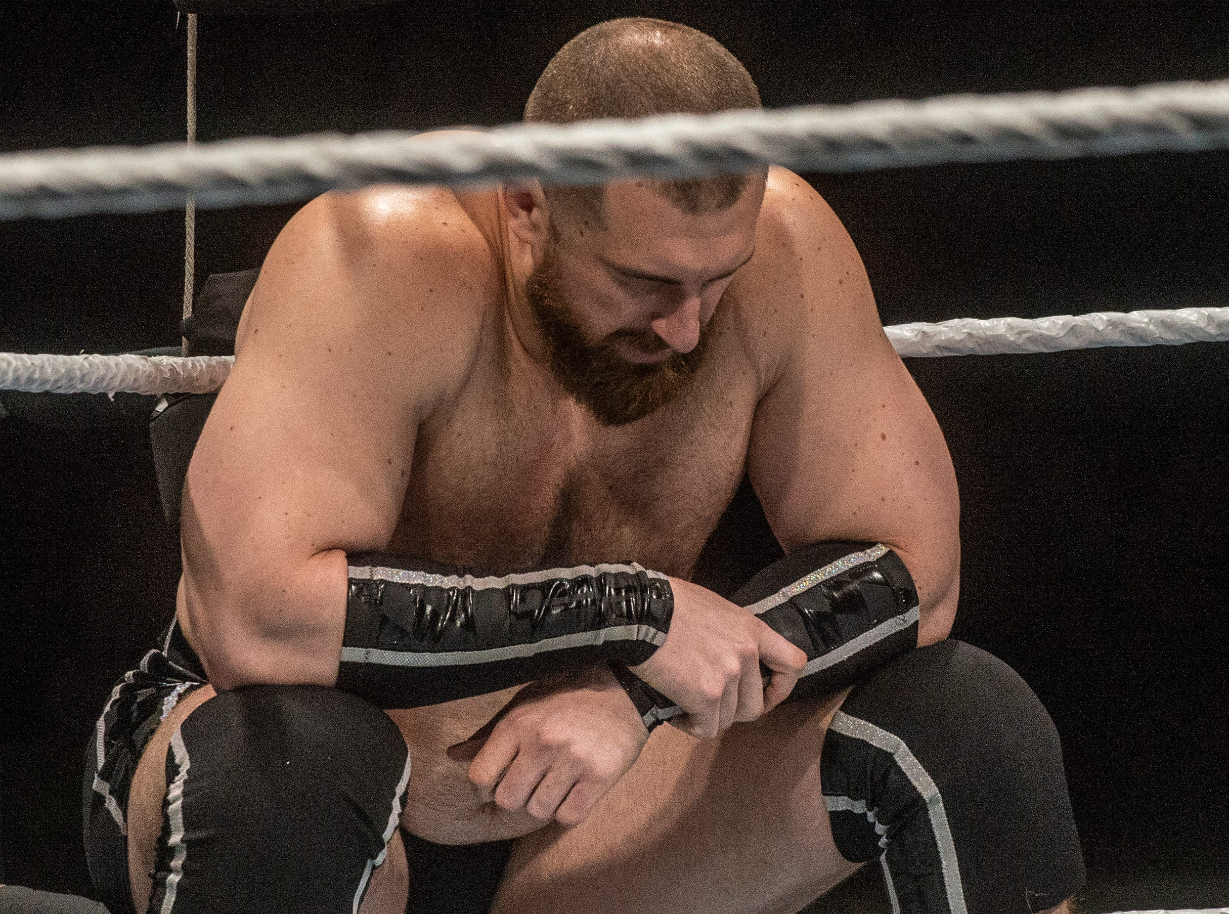 Mojo Rawley sits in his corner before his match against Tyler Breeze. WWE Live Road to Wrestlemania came to Garrett Coliseum in Montgomery on Sunday, Feb. 24, 2019.