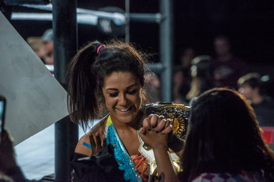 Bayley greets the fans after her match. Sasha Banks and Bayley defend their tag team championship against the Riott Squad. WWE Live Road to Wrestlemania came to Garrett Coliseum in Montgomery on Sunday, Feb. 24, 2019.