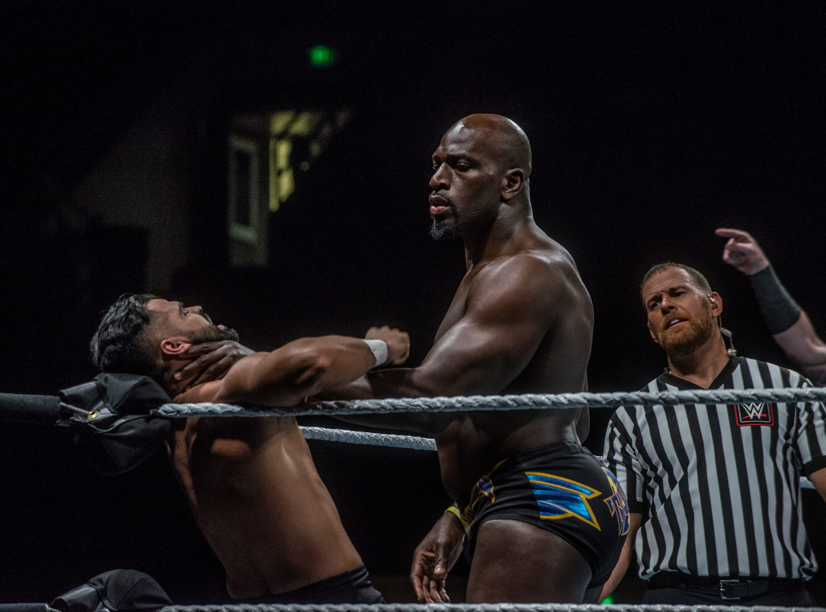 Titus O'Neil pins one of the Singh brothers in a corner. The Singh Brothers and Jinder Mahal in a six man tag team match against Titus OÕNeil, Heath Slater and Rhyno. WWE Live Road to Wrestlemania came to Garrett Coliseum in Montgomery on Sunday, Feb. 24, 2019.