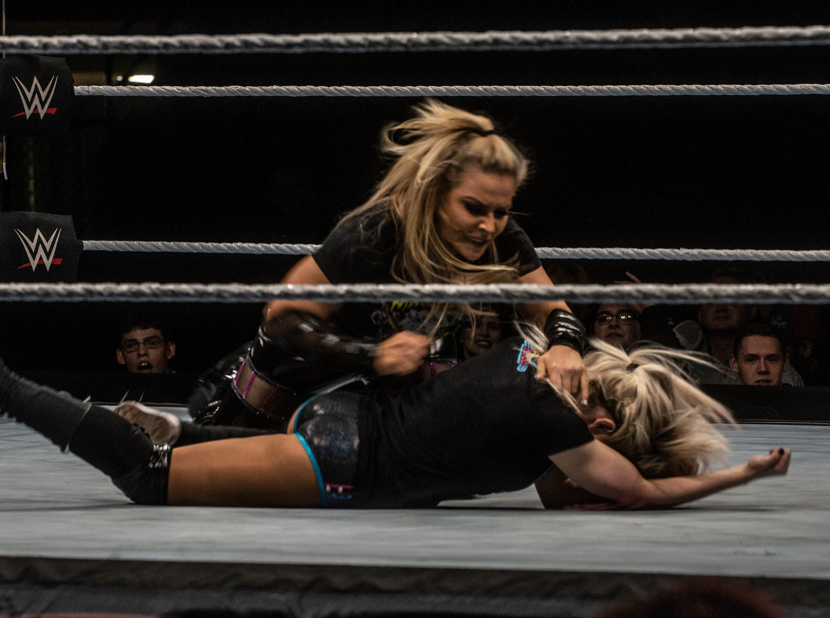 Natalya takes Alexa Bliss to the mat. WWE Live Road to Wrestlemania came to Garrett Coliseum in Montgomery on Sunday, Feb. 24, 2019.