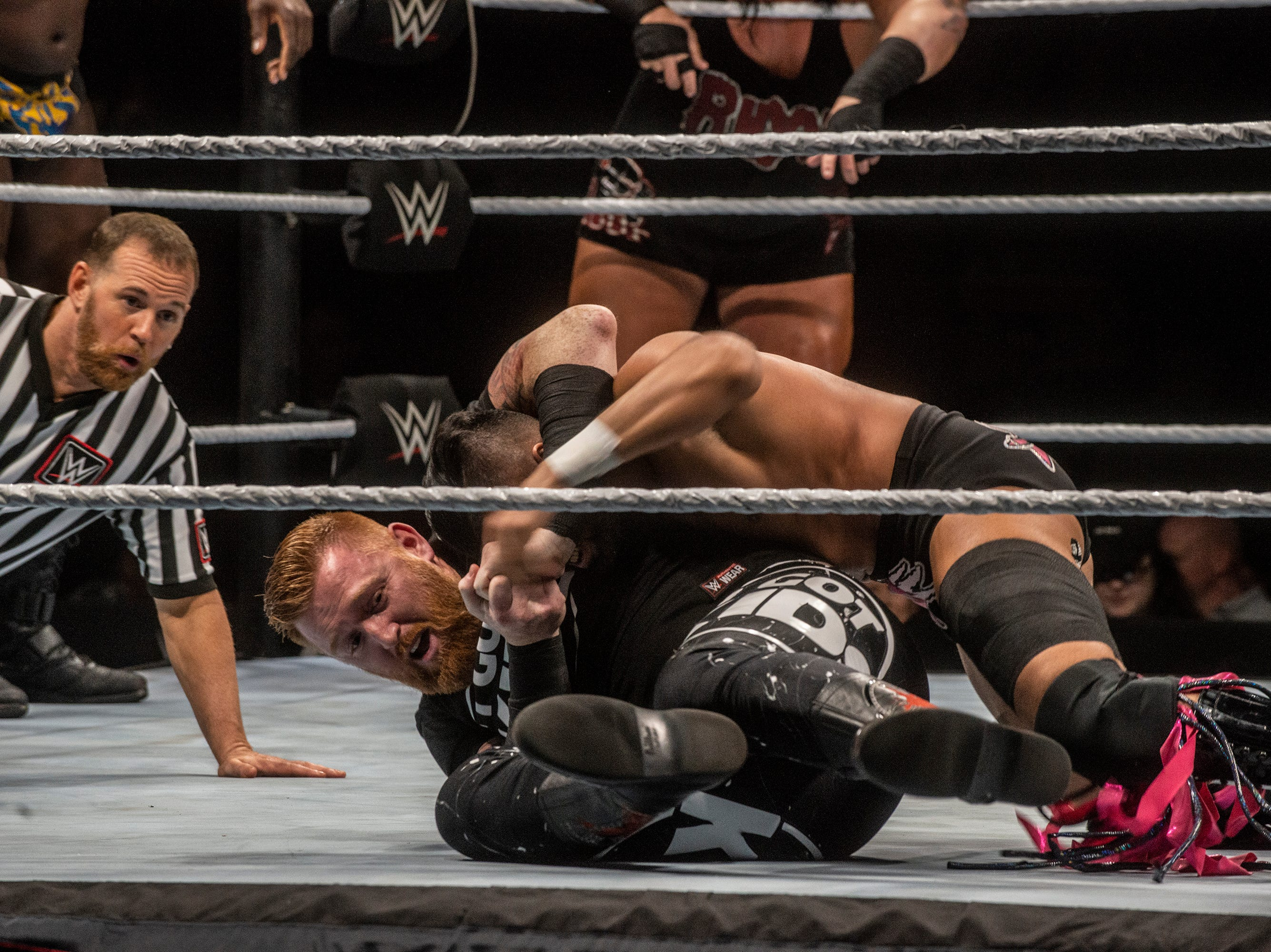 The Singh Brothers and Jinder Mahal in a six man tag team match against Titus O'Neil, Heath Slater and Rhyno. WWE Live Road to Wrestlemania came to Garrett Coliseum in Montgomery on Sunday, Feb. 24, 2019.