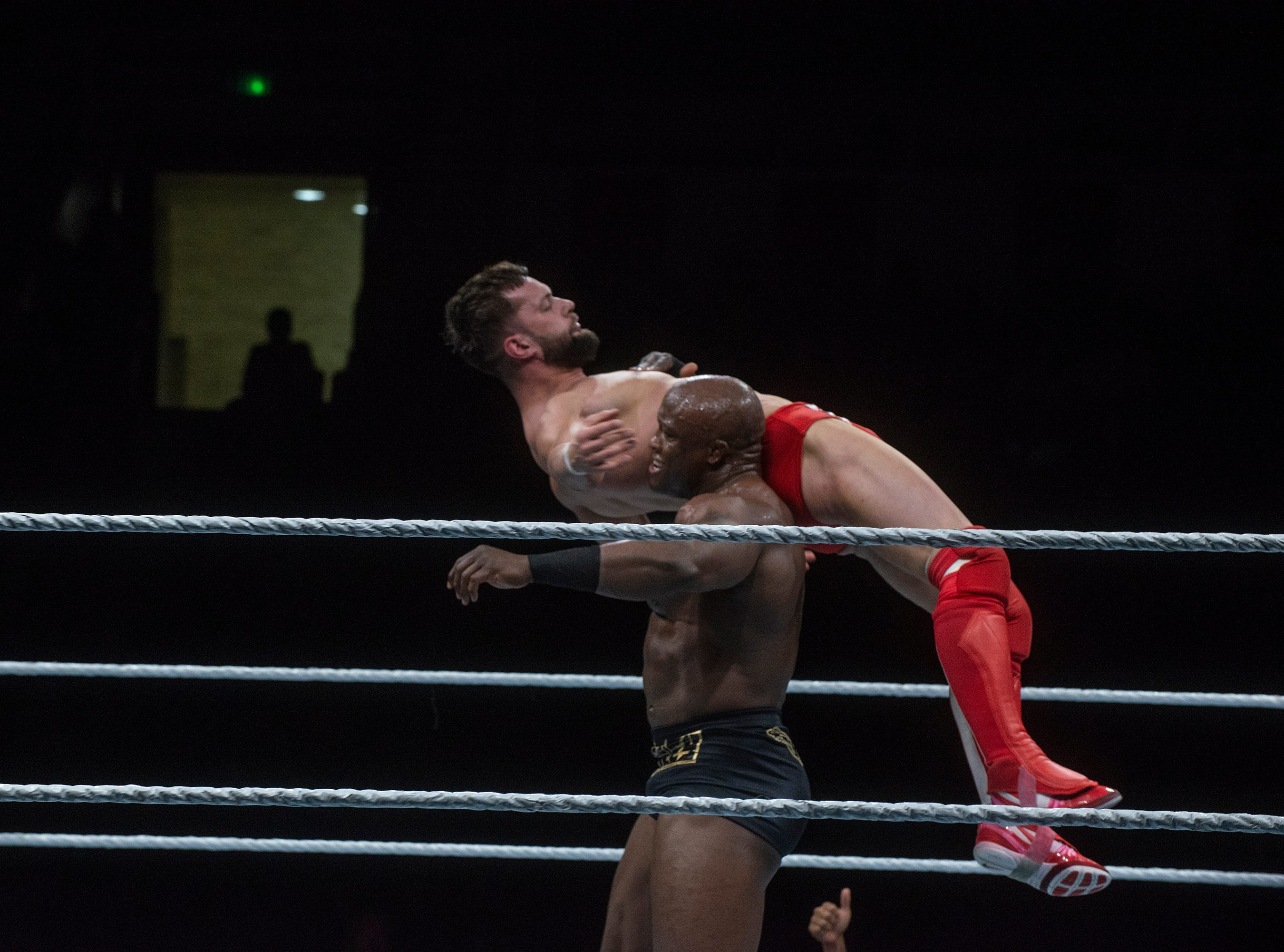 Intercontinental Heavyweight Wrestling Champion Finn Balor is carried around by Bobby Lashley. WWE Live Road to Wrestlemania came to Garrett Coliseum in Montgomery on Sunday, Feb. 24, 2019.
