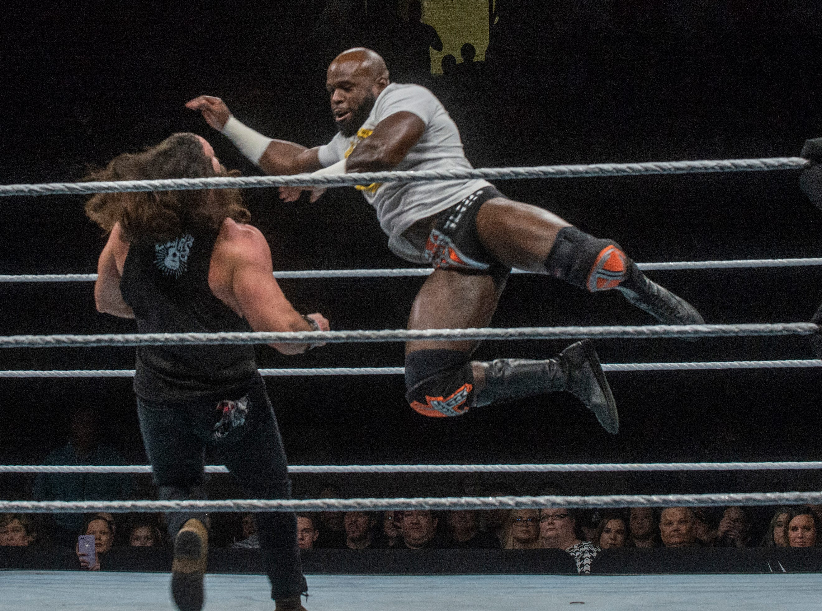 Elias takes a flying blow from Apollo Crews. WWE Live Road to Wrestlemania came to Garrett Coliseum in Montgomery on Sunday, Feb. 24, 2019.
