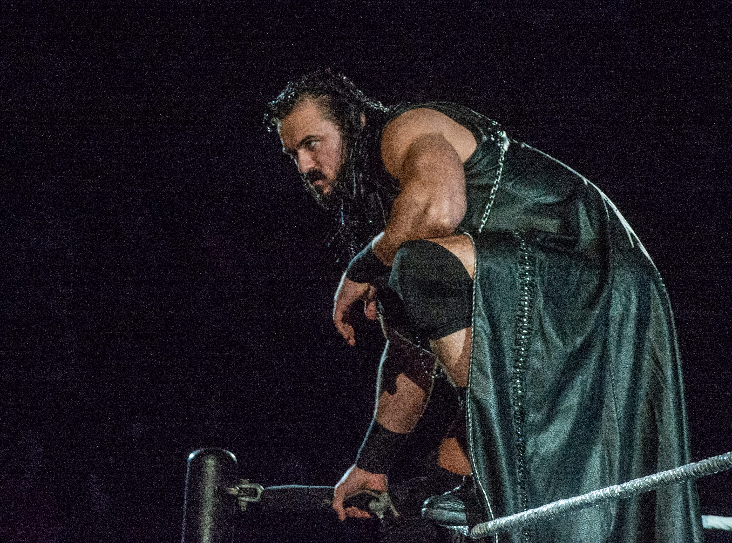 Drew McIntyre peers out at the crowd from the top rope.  WWE Live Road to Wrestlemania came to Garrett Coliseum in Montgomery on Sunday, Feb. 24, 2019.