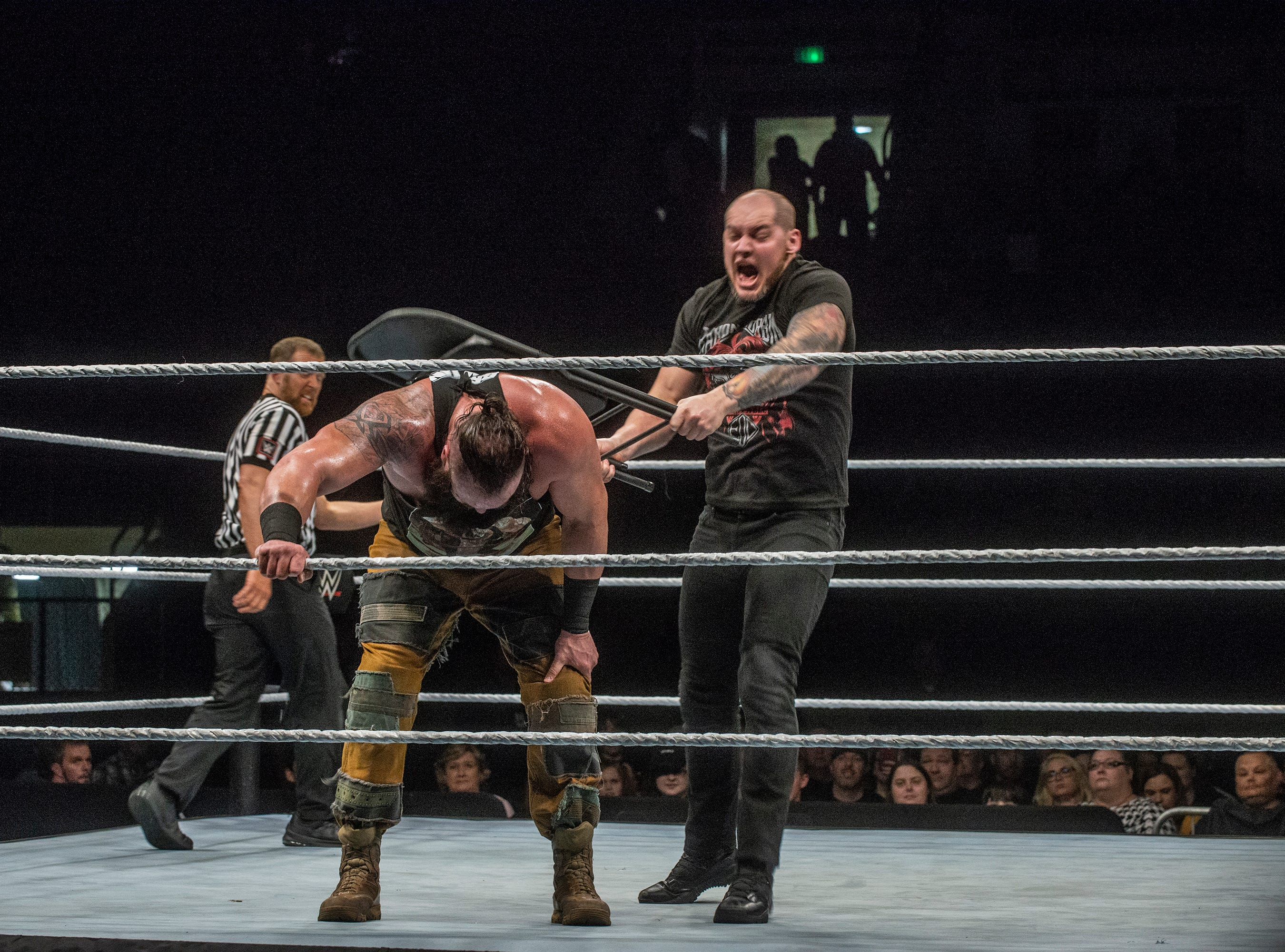 Baron Corbin hits Braun Strowman in the back with a chair. The main event was a street fight between Baron Corbin and Braun Strowman, with lots of of chairs, sticks and tables. WWE Live Road to Wrestlemania came to Garrett Coliseum in Montgomery on Sunday, Feb. 24, 2019.