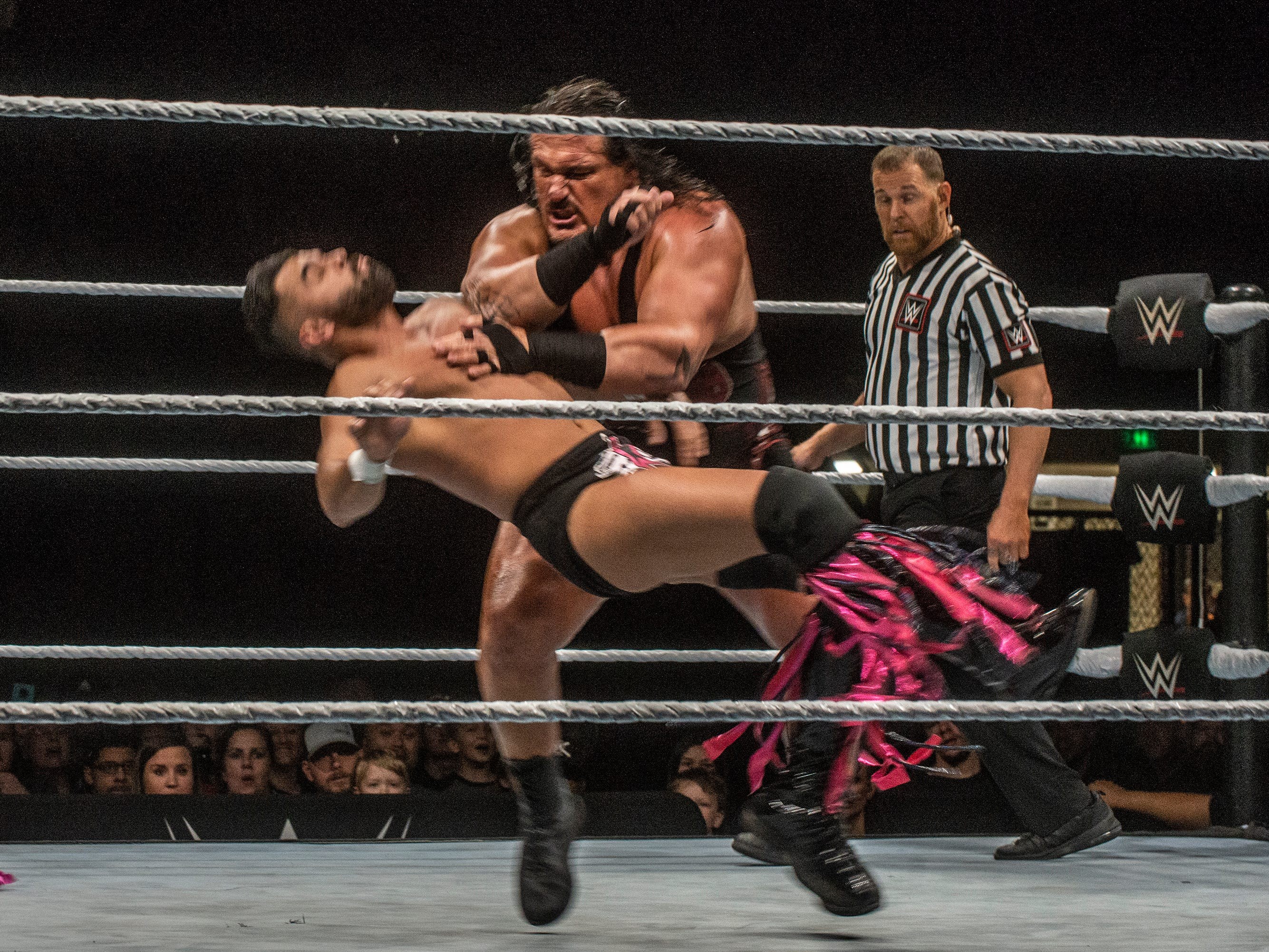 Rhyno tosses one of the Singh Brothers. The Singh Brothers and Jinder Mahal in a six man tag team match against Titus OÕNeil, Heath Slater and Rhyno. WWE Live Road to Wrestlemania came to Garrett Coliseum in Montgomery on Sunday, Feb. 24, 2019.