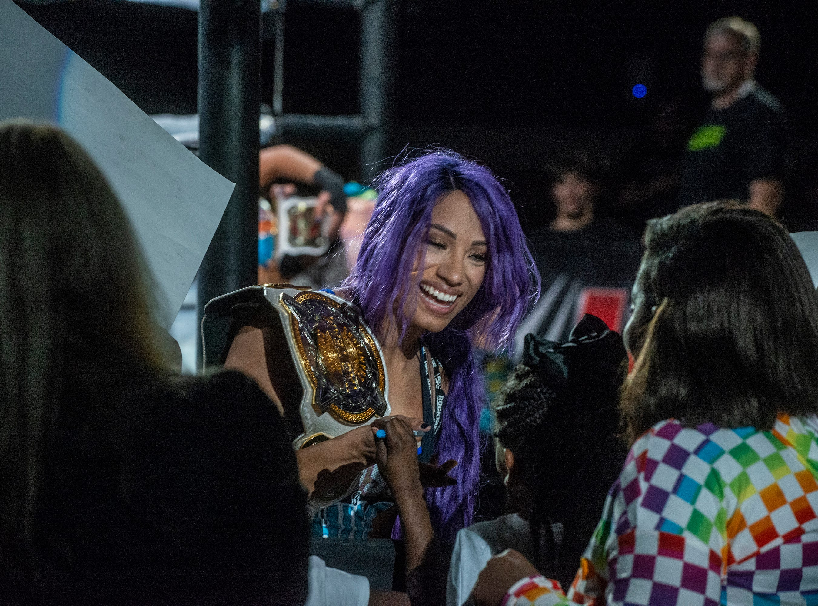 Sasha Banks greets the crowd after her match. Sasha Banks and Bayley defend their tag team championship against the Riott Squad. WWE Live Road to Wrestlemania came to Garrett Coliseum in Montgomery on Sunday, Feb. 24, 2019.