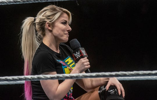 "Alexa Bliss gives the crowd a ""Moment of Bliss."" WWE Live Road to Wrestlemania came to Garrett Coliseum in Montgomery on Sunday, Feb. 24, 2019."