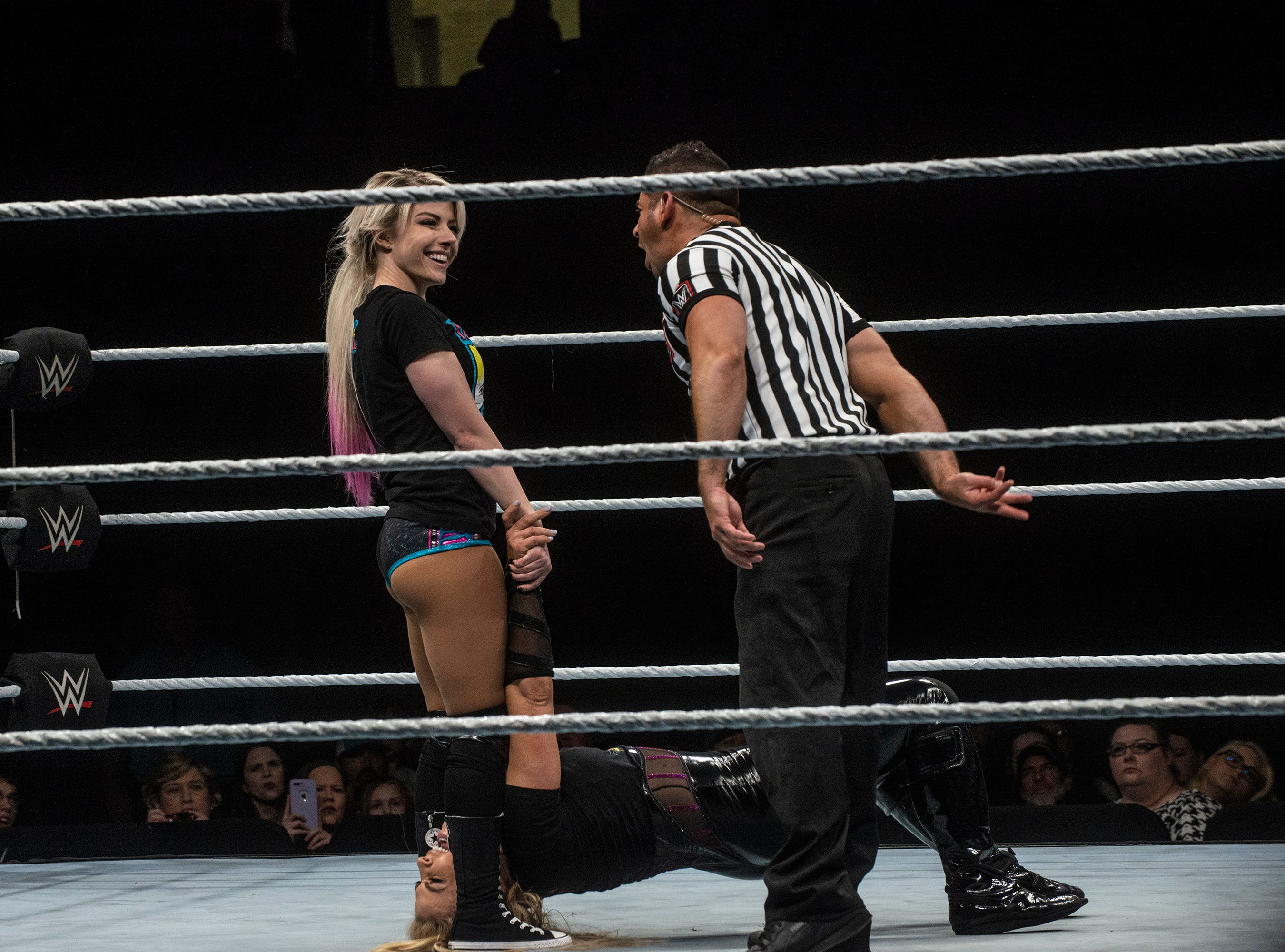 Natalya's hair is under the feet of Alexa Bliss. WWE Live Road to Wrestlemania came to Garrett Coliseum in Montgomery on Sunday, Feb. 24, 2019.
