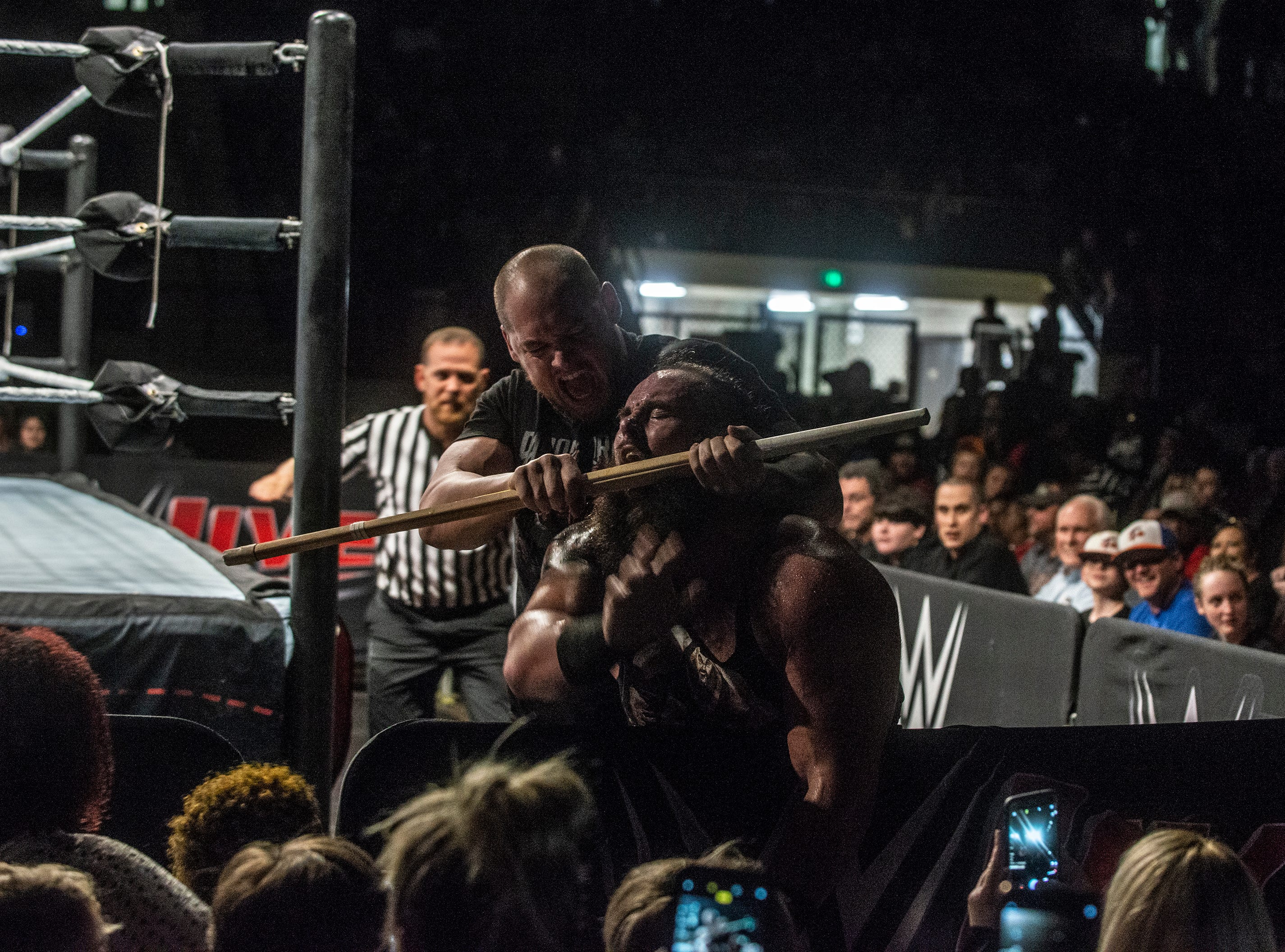 Braun Strowman is choked from behind by Baron Corbin. The main event was a street fight between Baron Corbin and Braun Strowman, with lots of of chairs, sticks and tables. WWE Live Road to Wrestlemania came to Garrett Coliseum in Montgomery on Sunday, Feb. 24, 2019.