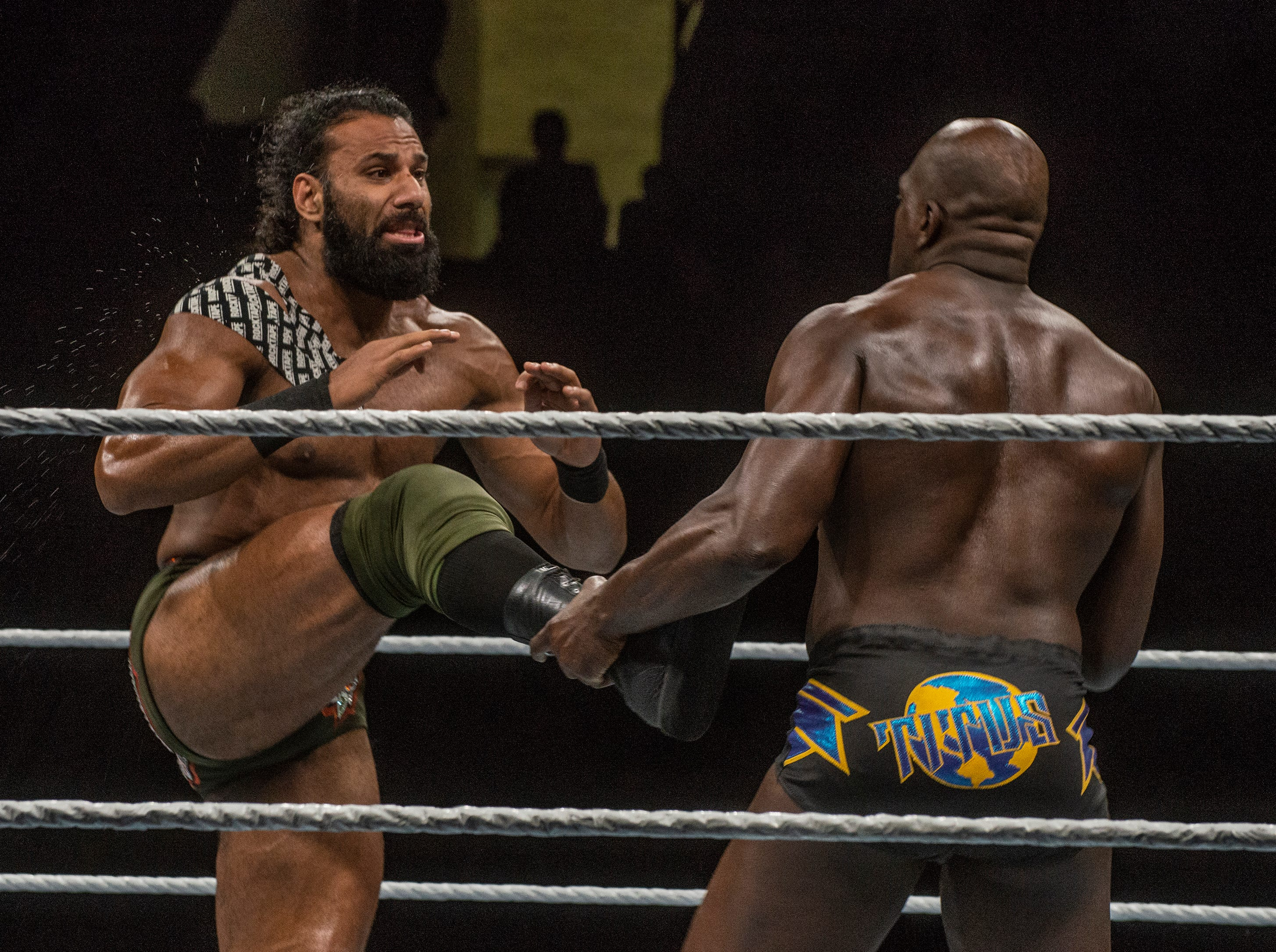 Jinder Mahal's leg gets caught by Titus OÕNeil. WWE Live Road to Wrestlemania came to Garrett Coliseum in Montgomery on Sunday, Feb. 24, 2019.