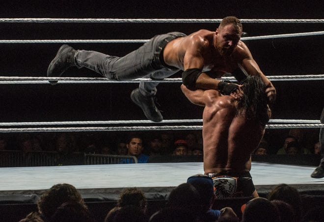 Dean Ambrose goes through the ropes against Drew McIntyre. WWE Live Road to Wrestlemania came to Garrett Coliseum in Montgomery on Sunday, Feb. 24, 2019.