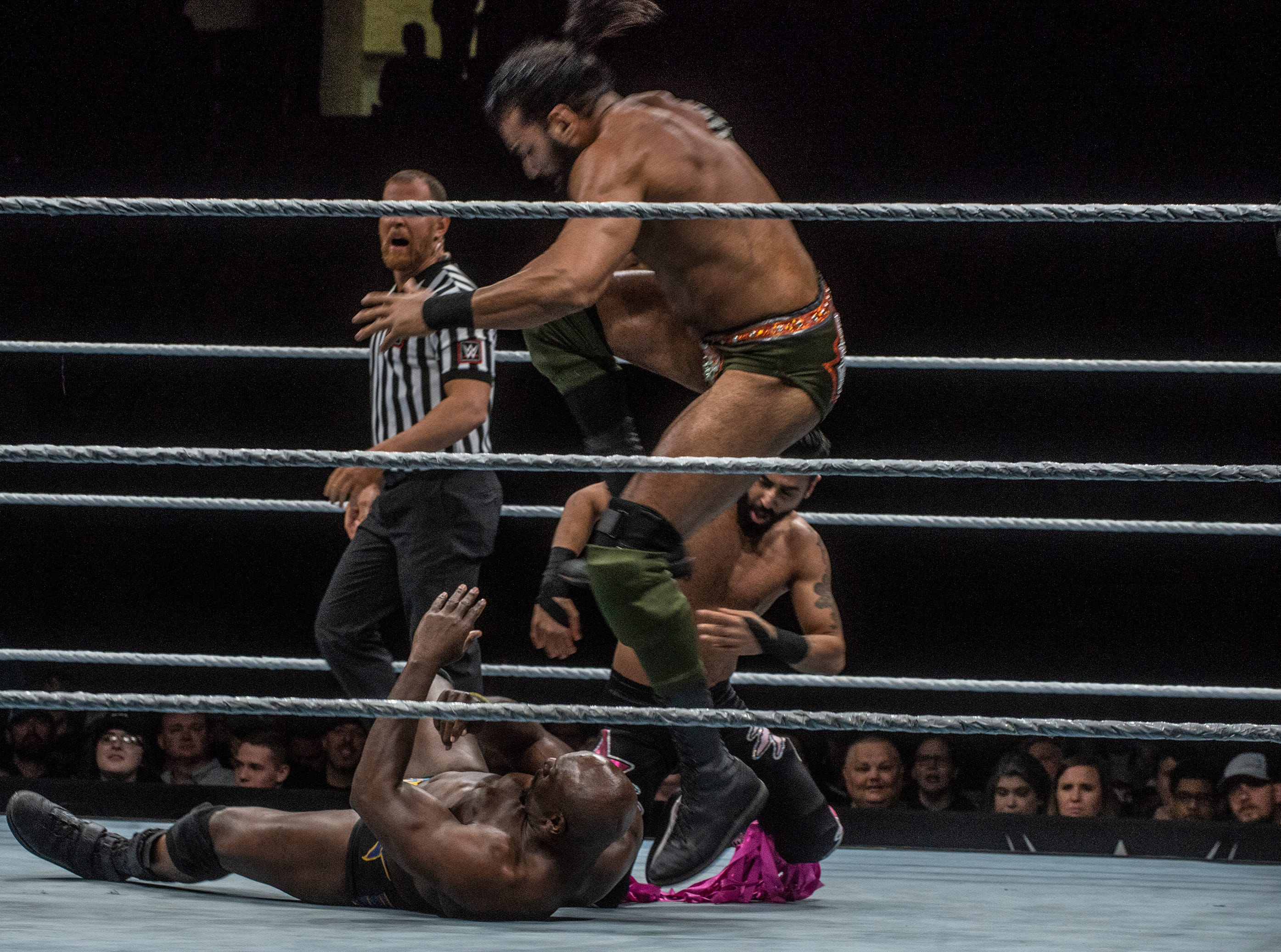 Jinder Mahal stomps on Titus OÕNeil. WWE Live Road to Wrestlemania came to Garrett Coliseum in Montgomery on Sunday, Feb. 24, 2019.