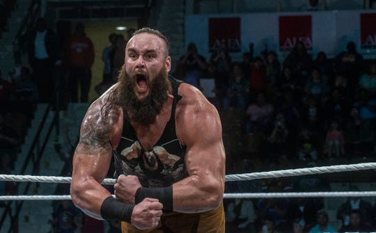 Braun Strowman gets the crowd revved up. The main event was a street fight between Baron Corbin and Braun Strowman, with lots of of chairs, sticks and tables. WWE Live Road to Wrestlemania came to Garrett Coliseum in Montgomery on Sunday, Feb. 24, 2019.