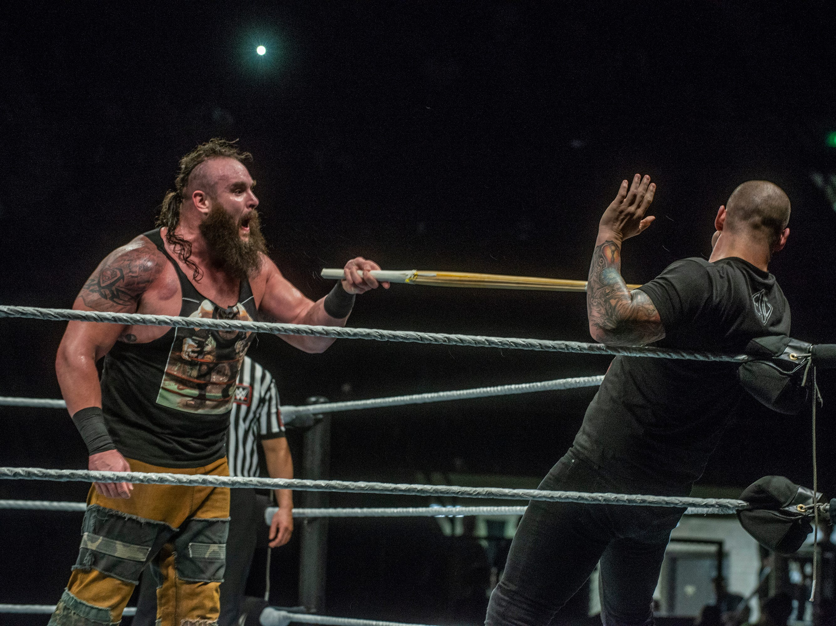 Braun Strowman puts Baron Corbin on the wrong end of a stick. The main event was a street fight between Baron Corbin and Braun Strowman, with lots of of chairs, sticks and tables. WWE Live Road to Wrestlemania came to Garrett Coliseum in Montgomery on Sunday, Feb. 24, 2019.