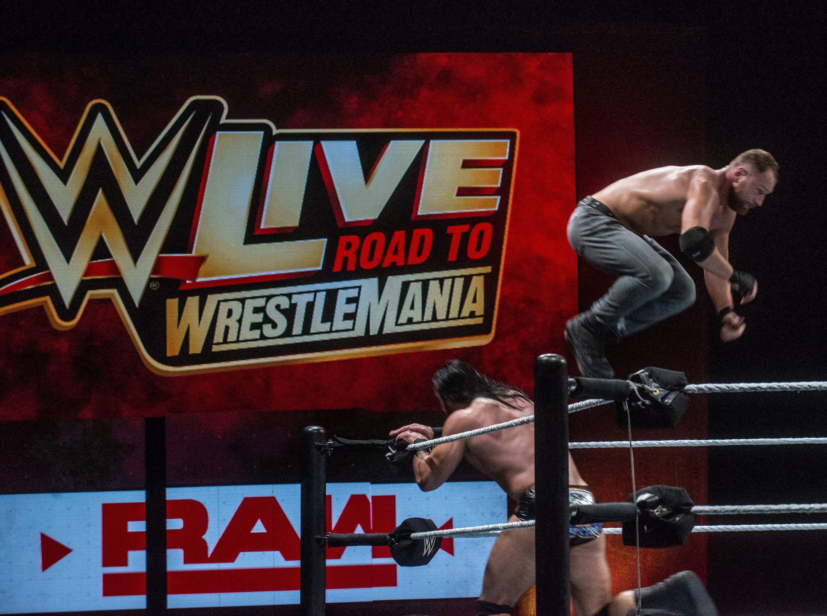 Dean Ambrose goes off the top rope against Drew McIntyre. WWE Live Road to Wrestlemania came to Garrett Coliseum in Montgomery on Sunday, Feb. 24, 2019.