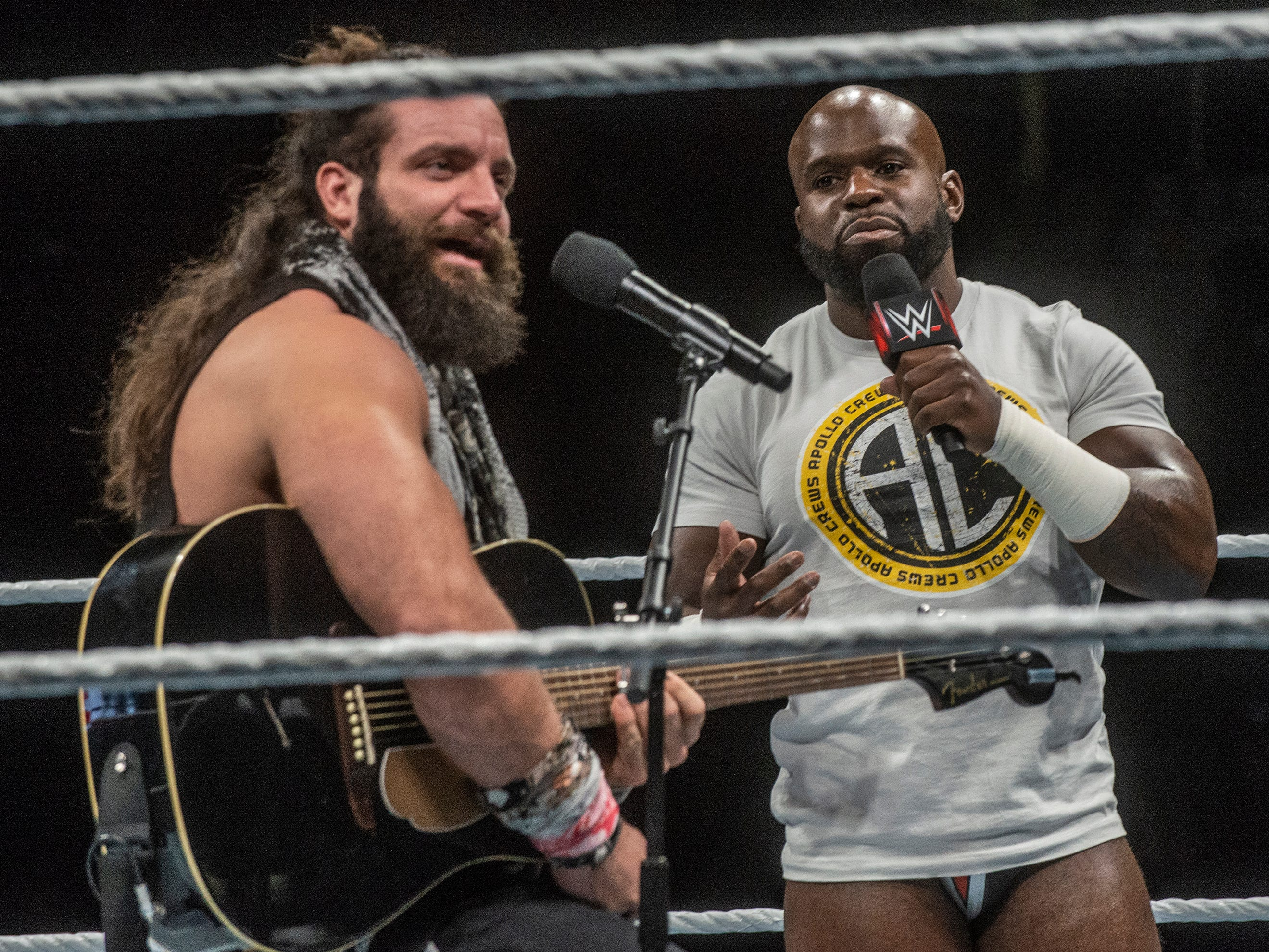 """Elias, left, and Apollo Crews sing """"Sweet Home Alabama"""" to the crowd. WWE Live Road to Wrestlemania came to Garrett Coliseum in Montgomery on Sunday, Feb. 24, 2019."""