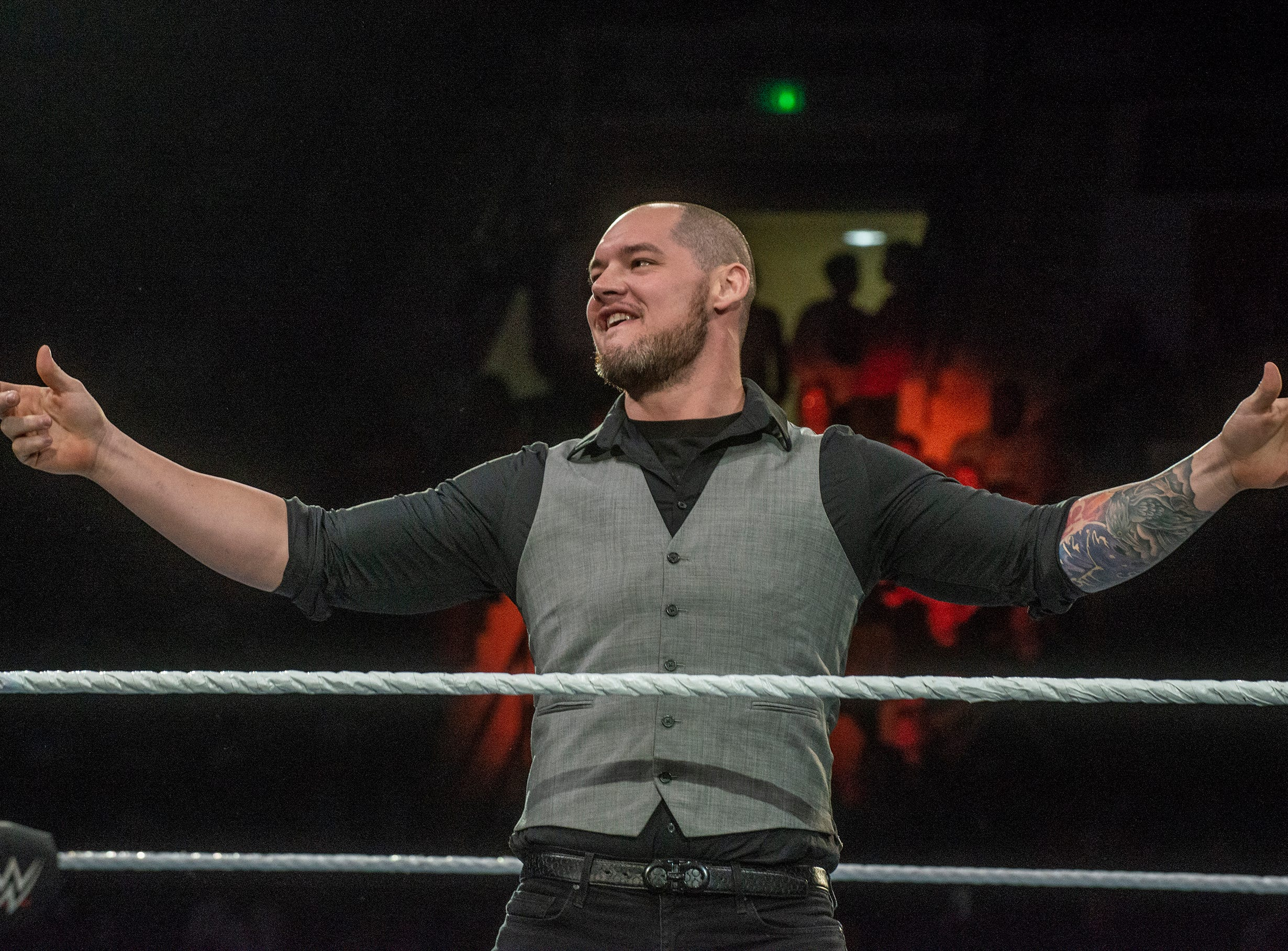 Baron Corbin shows off to the crowd. The main event was a street fight between Baron Corbin and Braun Strowman, with lots of of chairs, sticks and tables. WWE Live Road to Wrestlemania came to Garrett Coliseum in Montgomery on Sunday, Feb. 24, 2019.