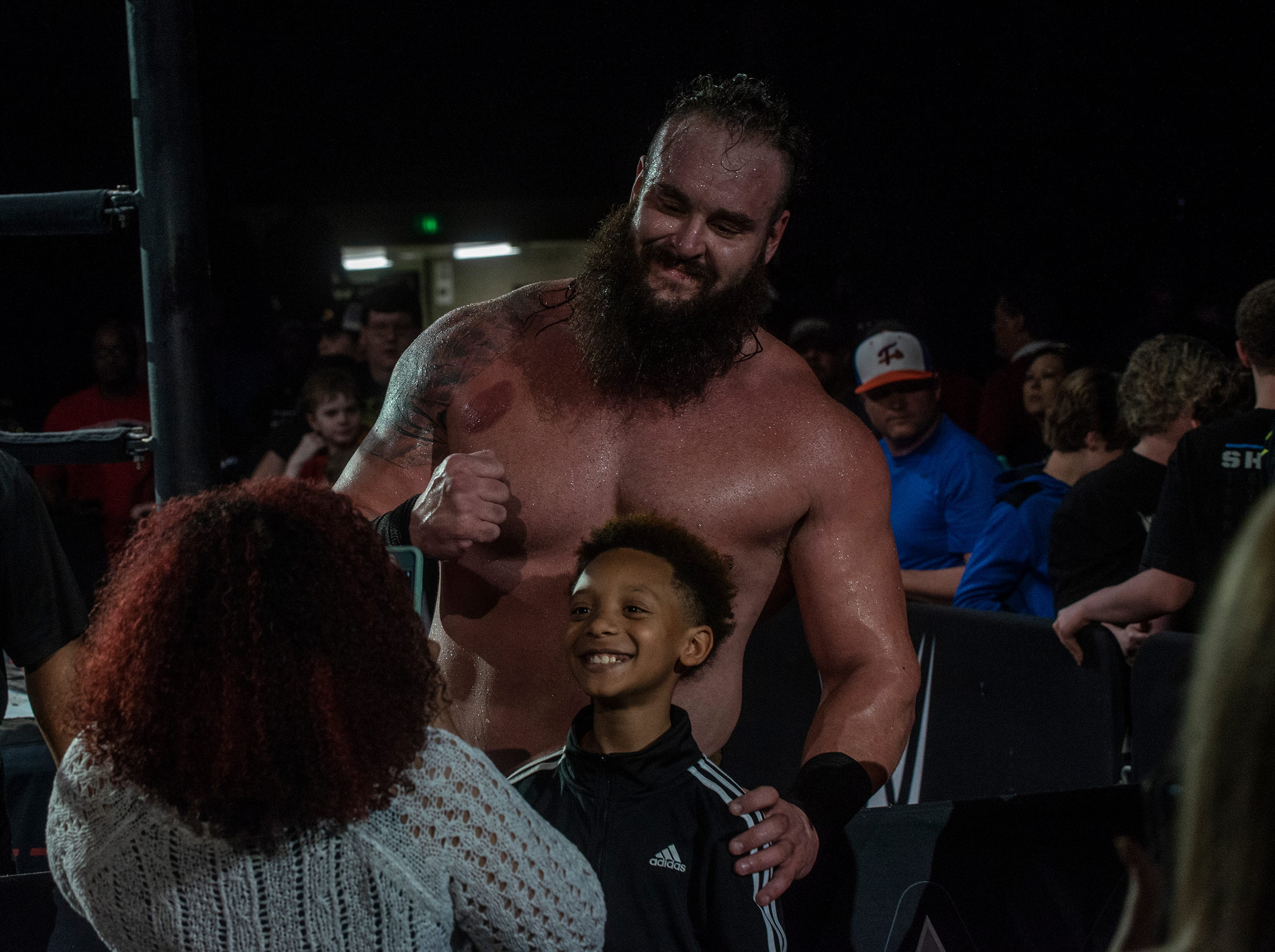 Braun Strowman greets his fans after the match. The main event was a street fight between Baron Corbin and Braun Strowman, with lots of of chairs, sticks and tables. WWE Live Road to Wrestlemania came to Garrett Coliseum in Montgomery on Sunday, Feb. 24, 2019.