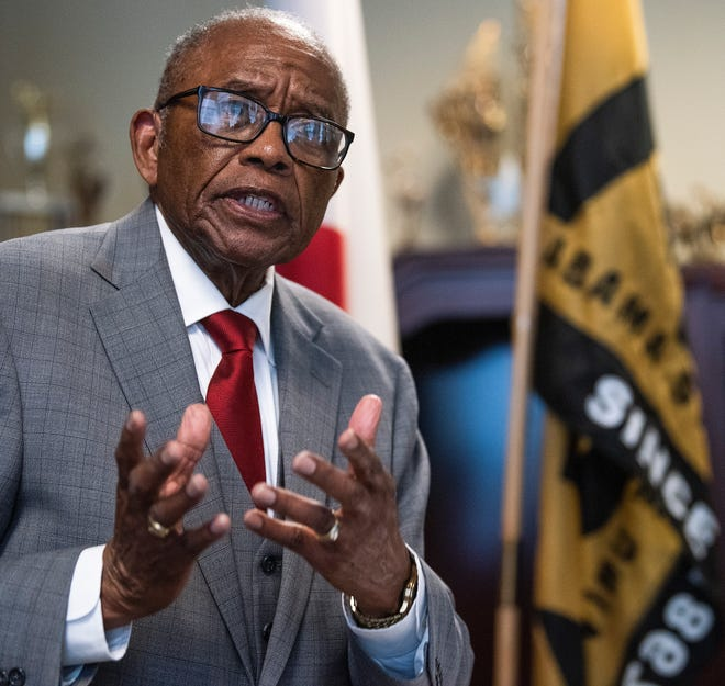 Civil Rights Attorney Fred Gray talks about representing Alabama State University students that were expelled for taking part in the 1960 lunch counter sit-in in Montgomery, during a press conference at the ASU campus in Montgomery, Ala., on Monday February 25, 2019.
