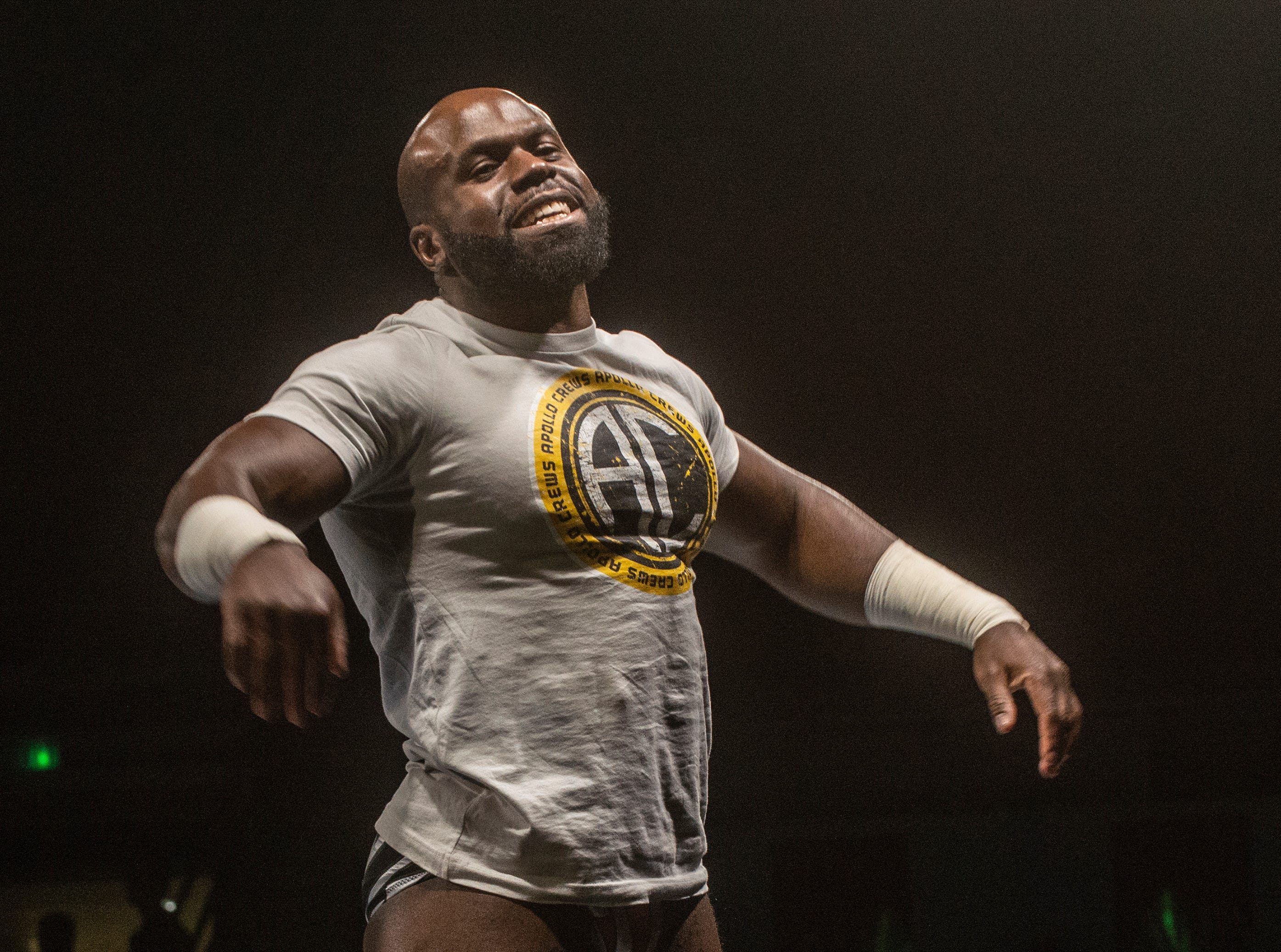 Apollo Crews greets the crowd. WWE Live Road to Wrestlemania came to Garrett Coliseum in Montgomery on Sunday, Feb. 24, 2019.