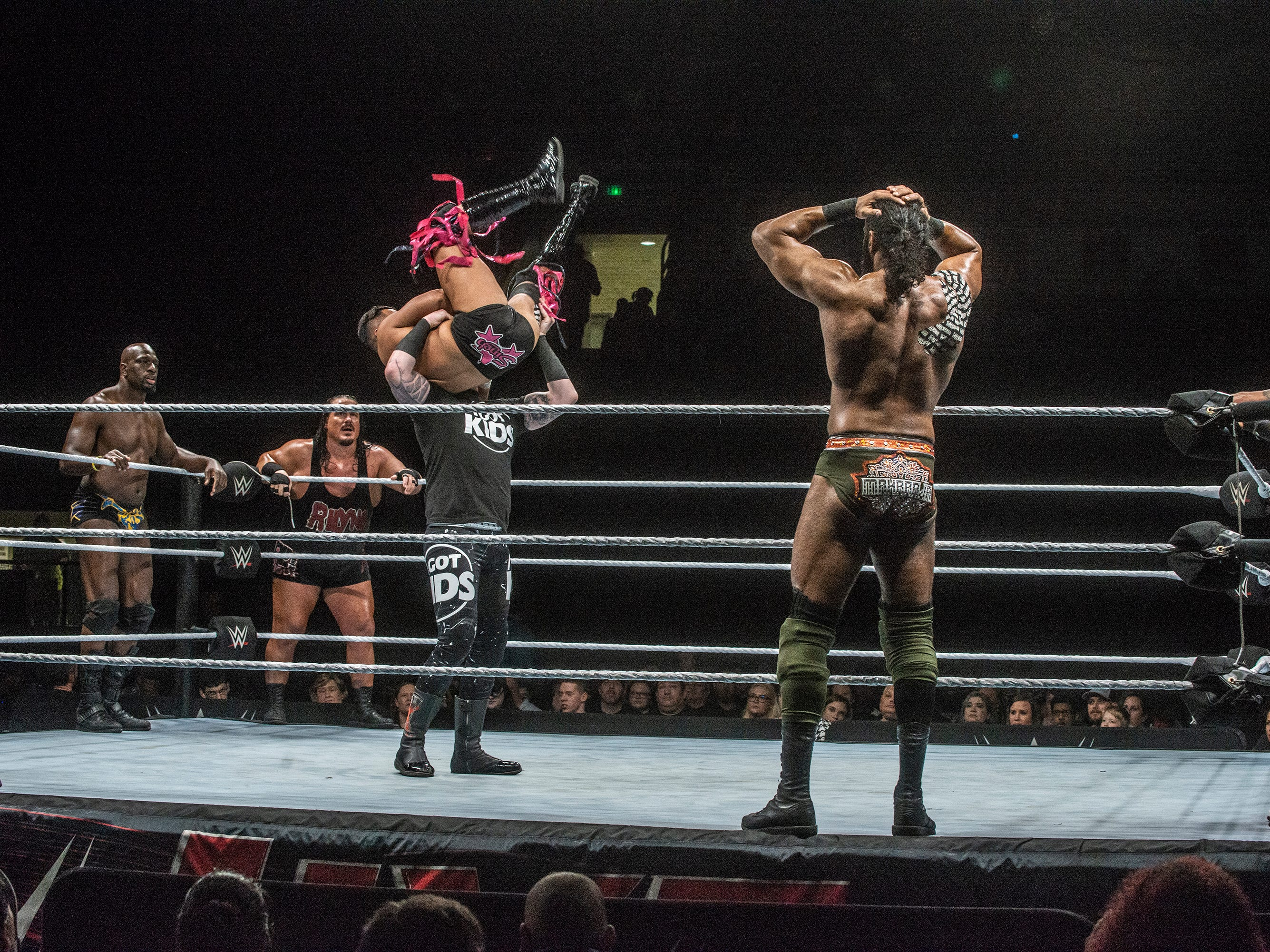 The Singh Brothers and Jinder Mahal in a six man tag team match against Titus OÕNeil, Heath Slater and Rhyno. WWE Live Road to Wrestlemania came to Garrett Coliseum in Montgomery on Sunday, Feb. 24, 2019.