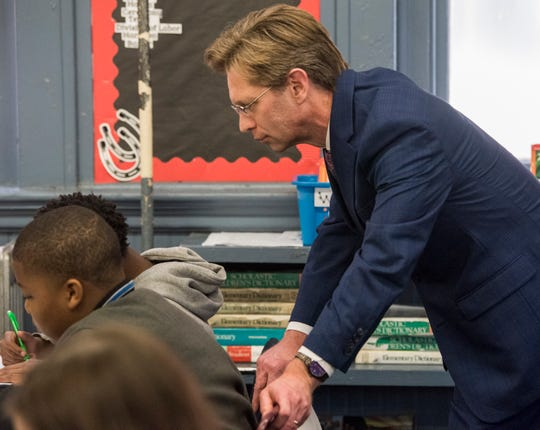 Alabama state superintendent Eric Mackey leads a lesson in a classroom at Highland Avenue Elementary in Montgomery, Ala., on Monday, Feb. 25, 2019.